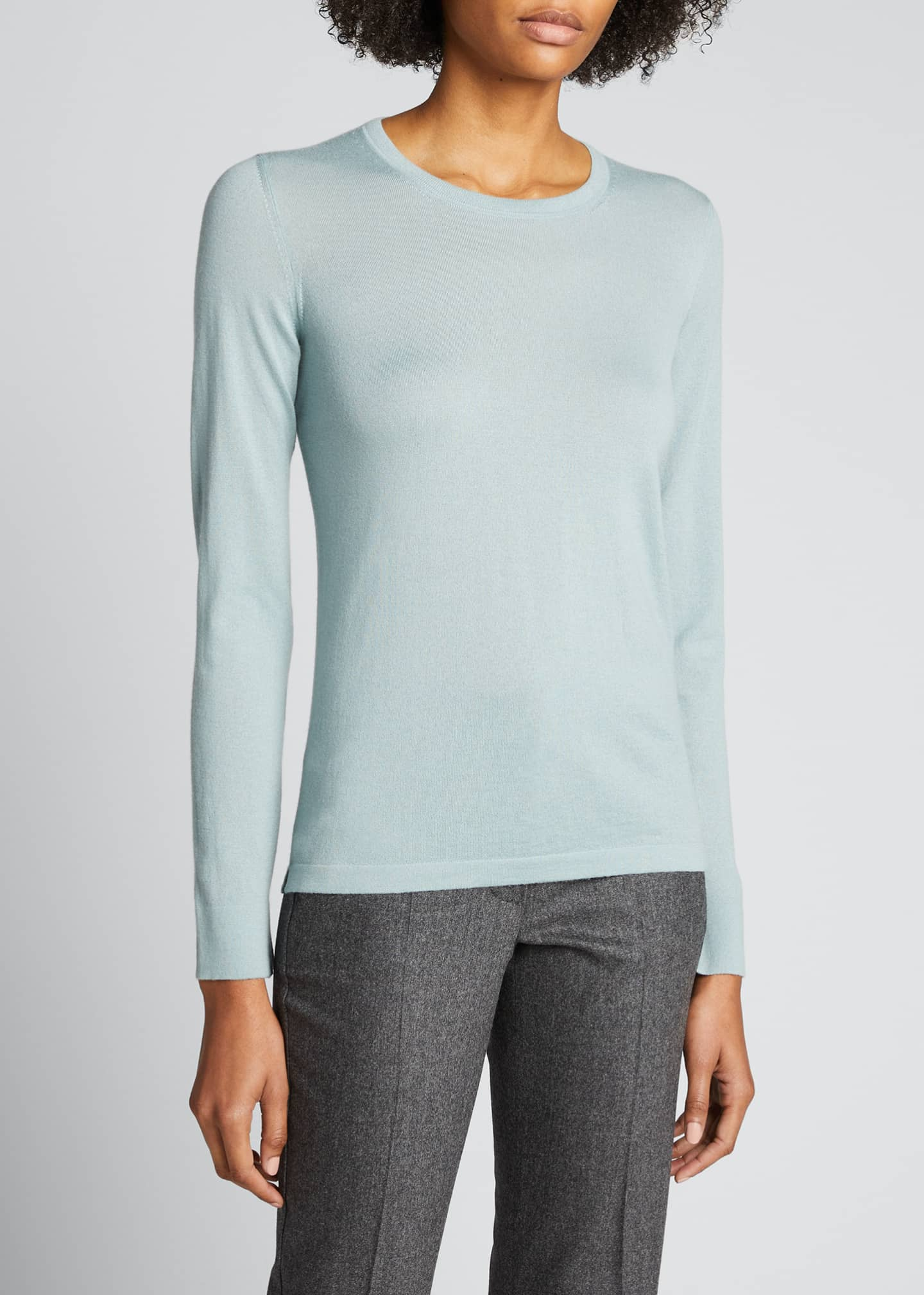 Image 3 of 3: Piuma Crewneck Long-Sleeve Cashmere T-Shirt