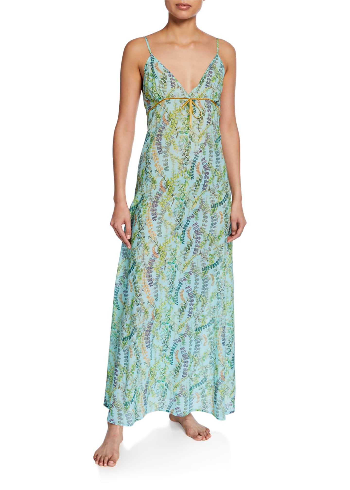 La Costa Del Algodon Severine Floral-Pattern Long Nightgown