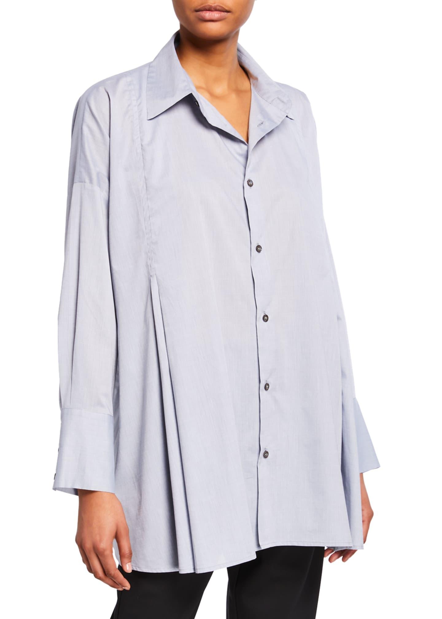 Eskandar Cotton Button-Front Swing Shirt