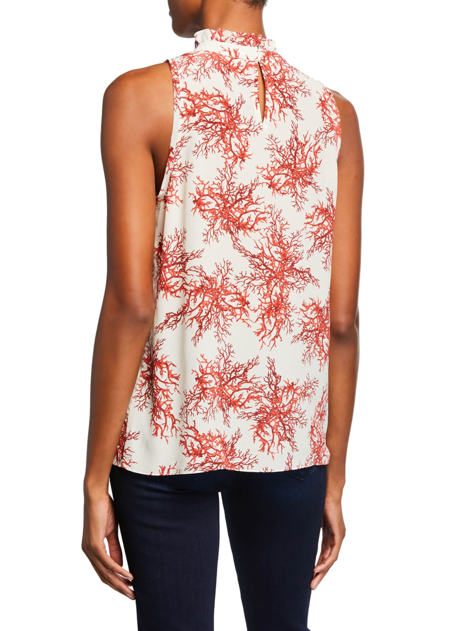 Image 2 of 2: Maxi Coral-Print Mock-Neck Sleeveless Blouse