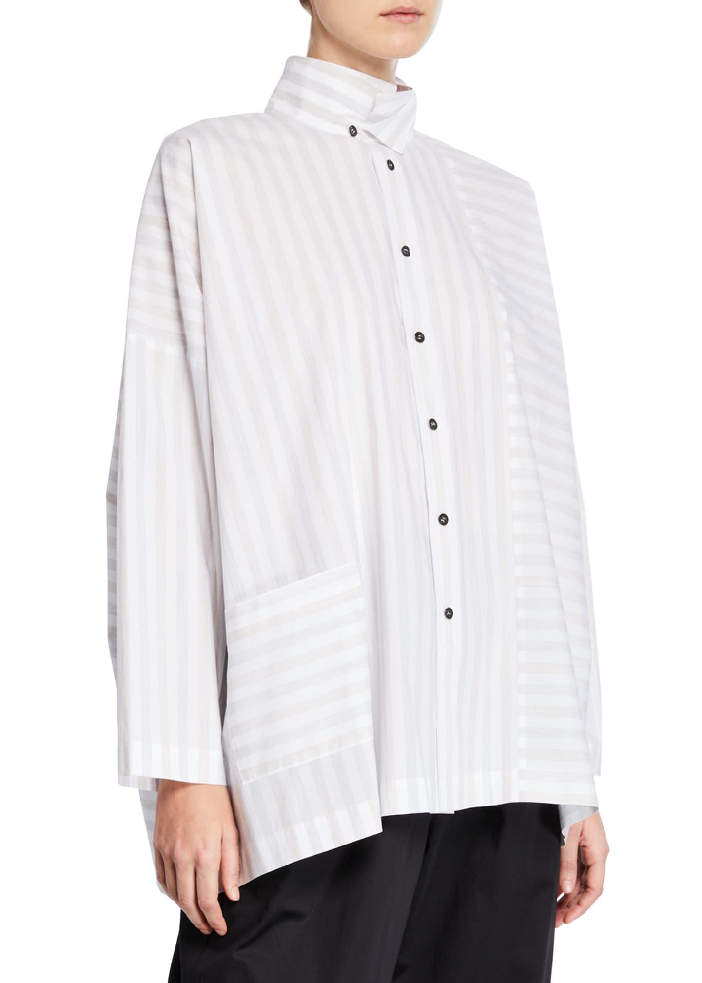 Eskandar Faded-Stripe Button Front Shirt