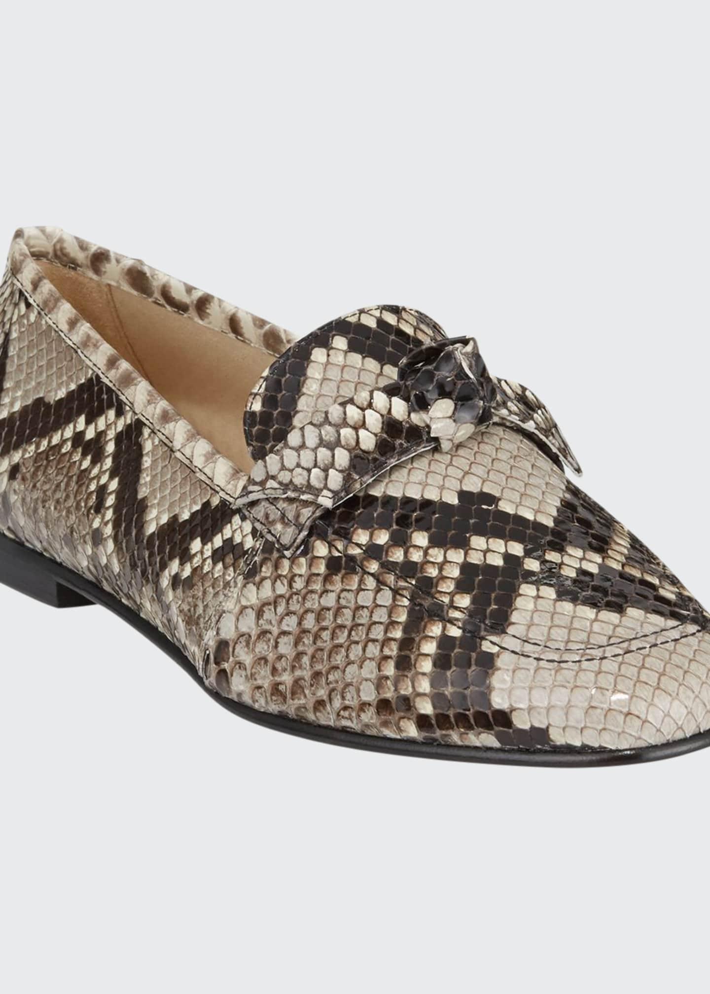 Alexandre Birman Becky Python Bow Loafers