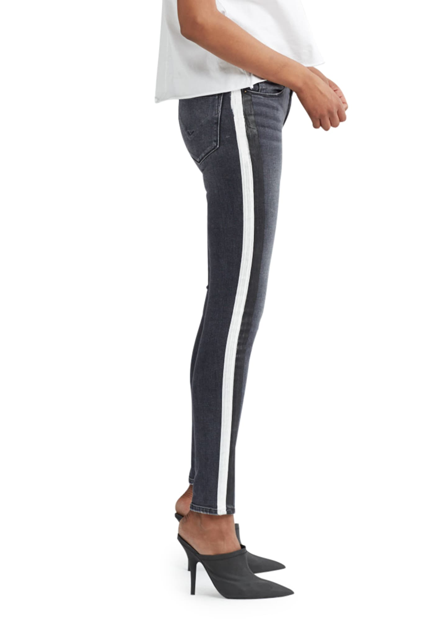 Image 3 of 4: Nico Mid-Rise Super Skinny Ankle Jeans with Side Stripes