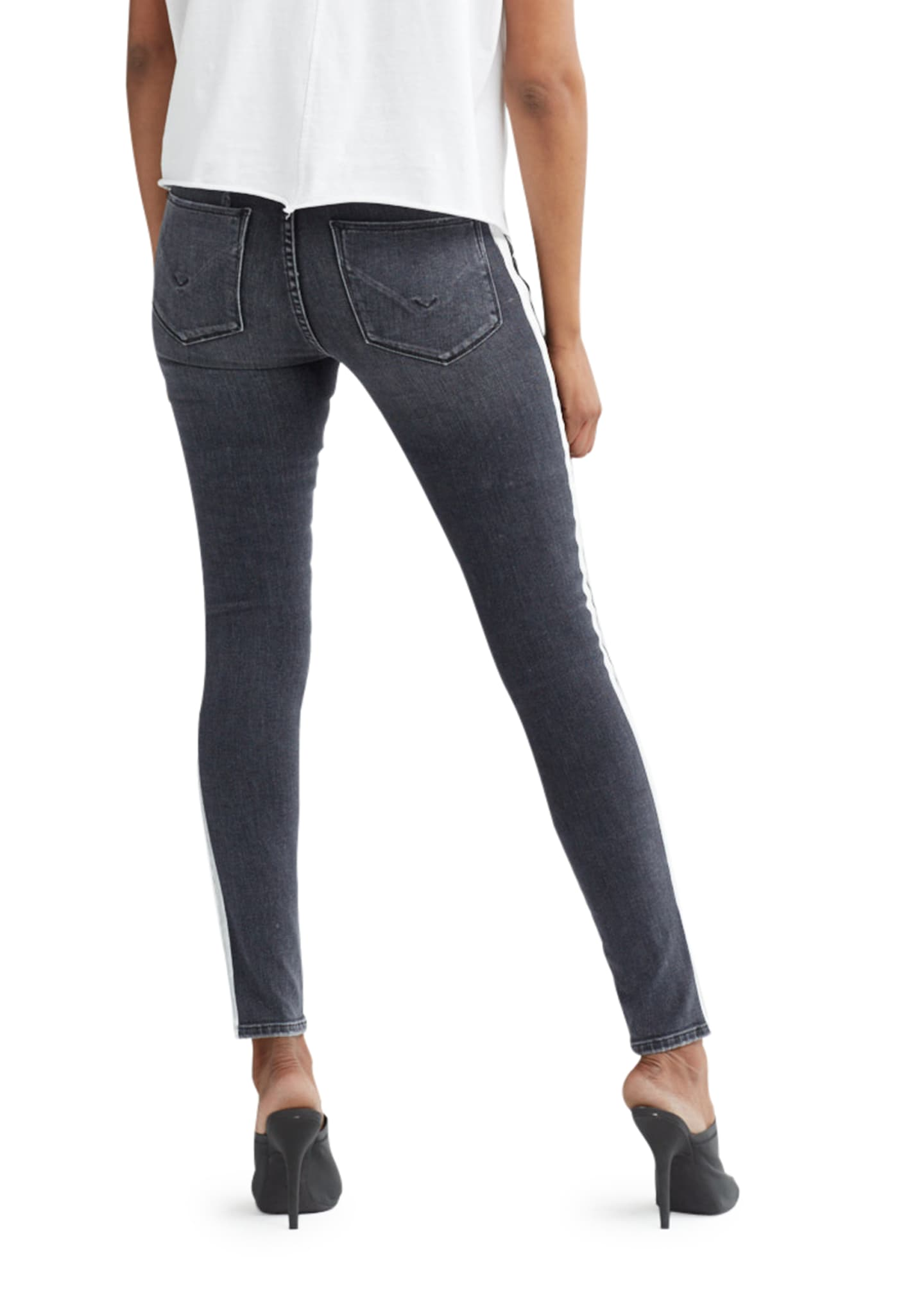 Image 4 of 4: Nico Mid-Rise Super Skinny Ankle Jeans with Side Stripes