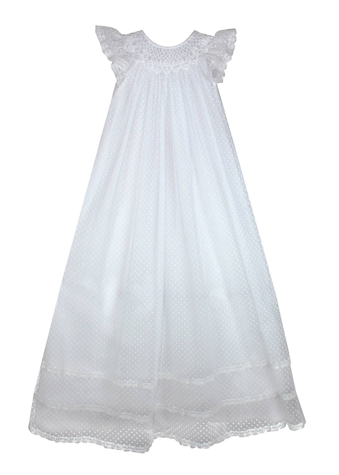 Isabel Garreton Smocked Swiss Dot Christening Gown, Size