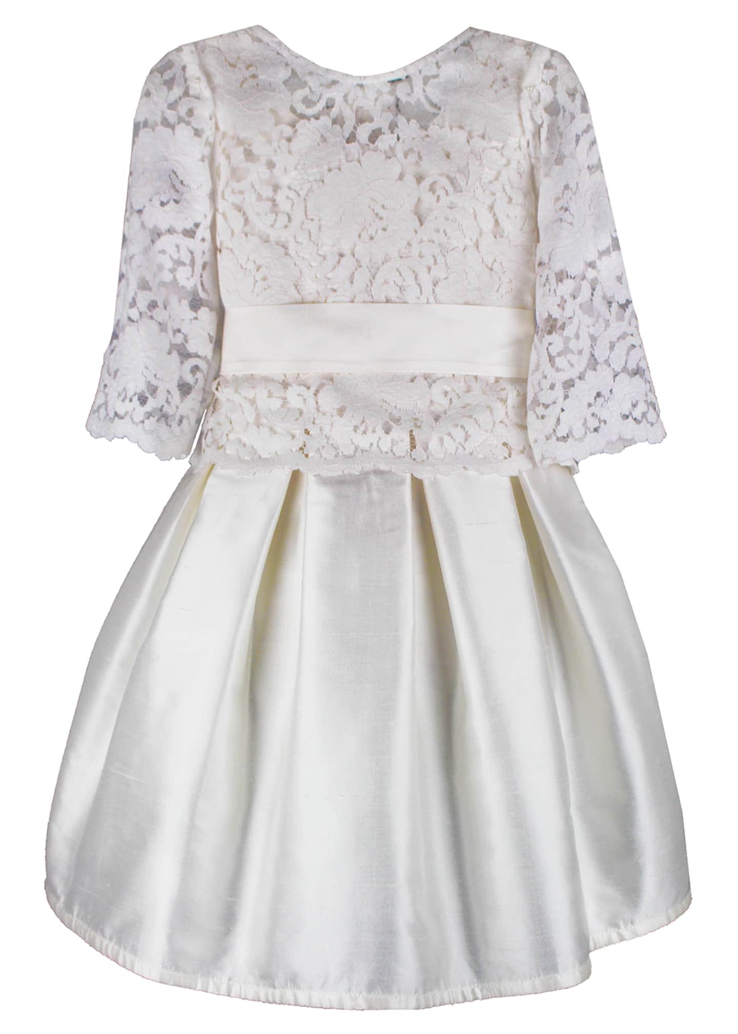 Isabel Garreton Fable Silk Dress w/ Lace Overlay