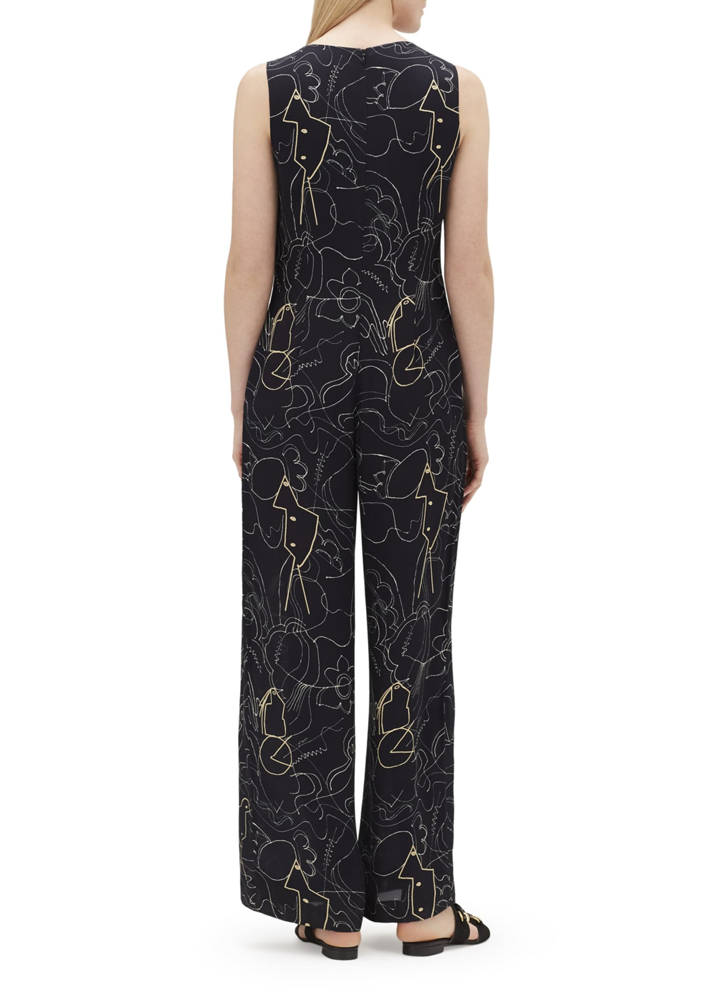 Image 2 of 3: Adelphi Progressive-Print V-Neck Sleeveless Jumpsuit