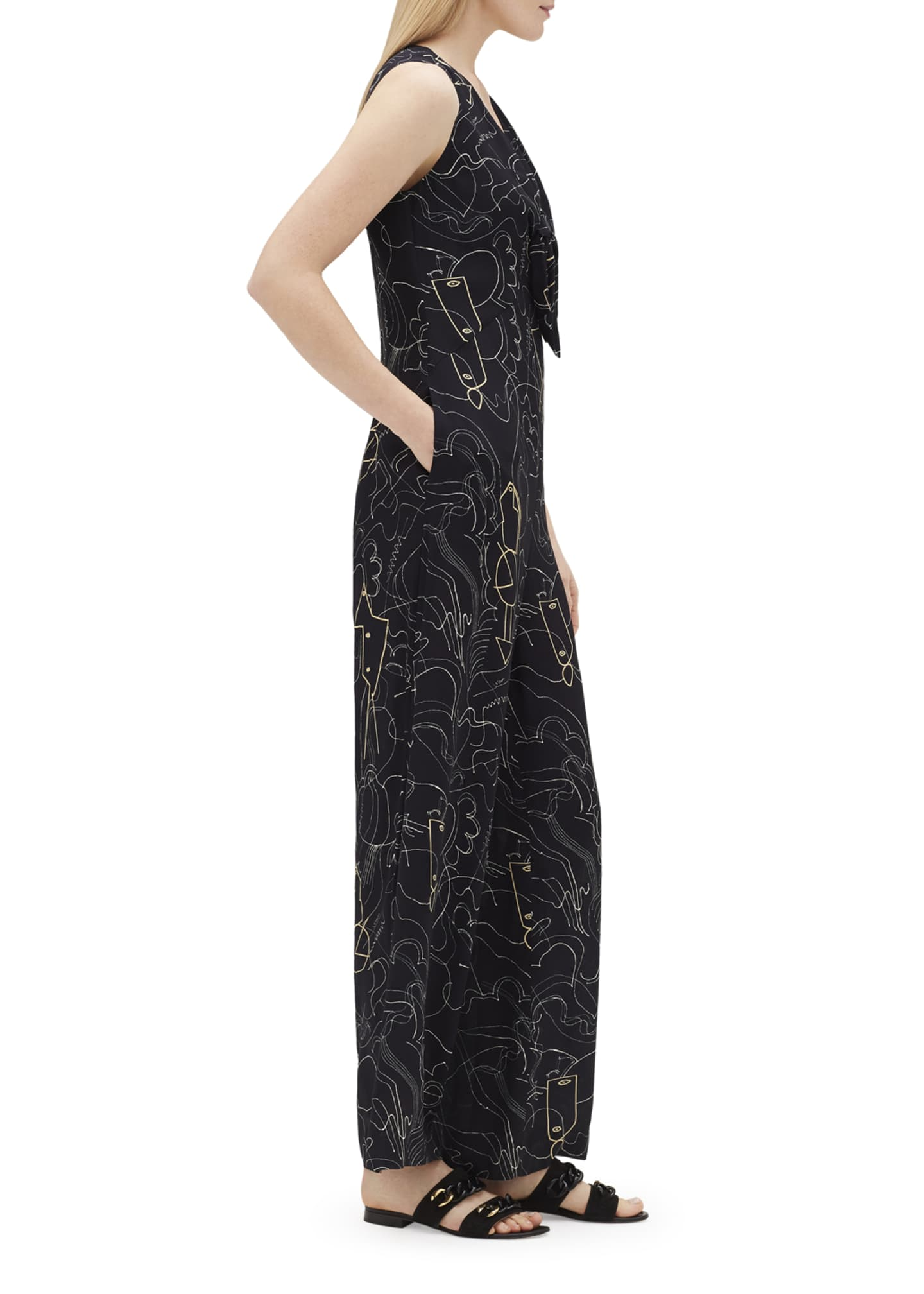 Image 3 of 3: Adelphi Progressive-Print V-Neck Sleeveless Jumpsuit