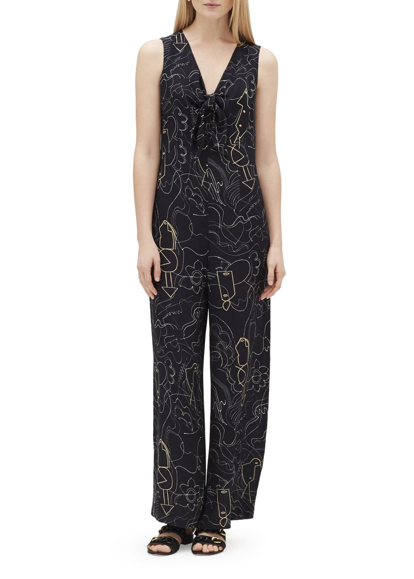 Image 1 of 3: Adelphi Progressive-Print V-Neck Sleeveless Jumpsuit