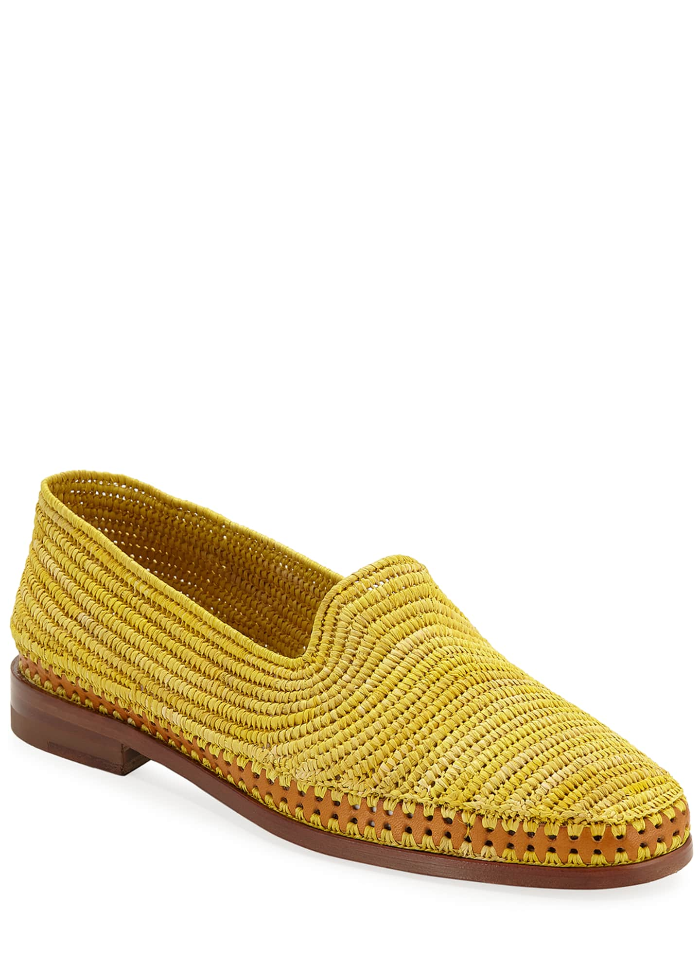 Manolo Blahnik Amira Woven Raffia Slip-On Loafers