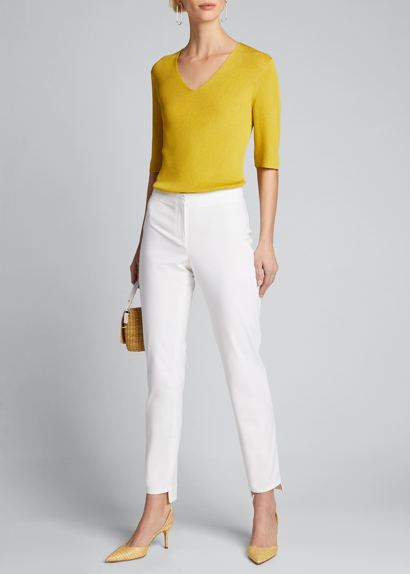 Image 1 of 5: Manhattan Fundamental Bi-Stretch Slim Pants w/ Step Hem