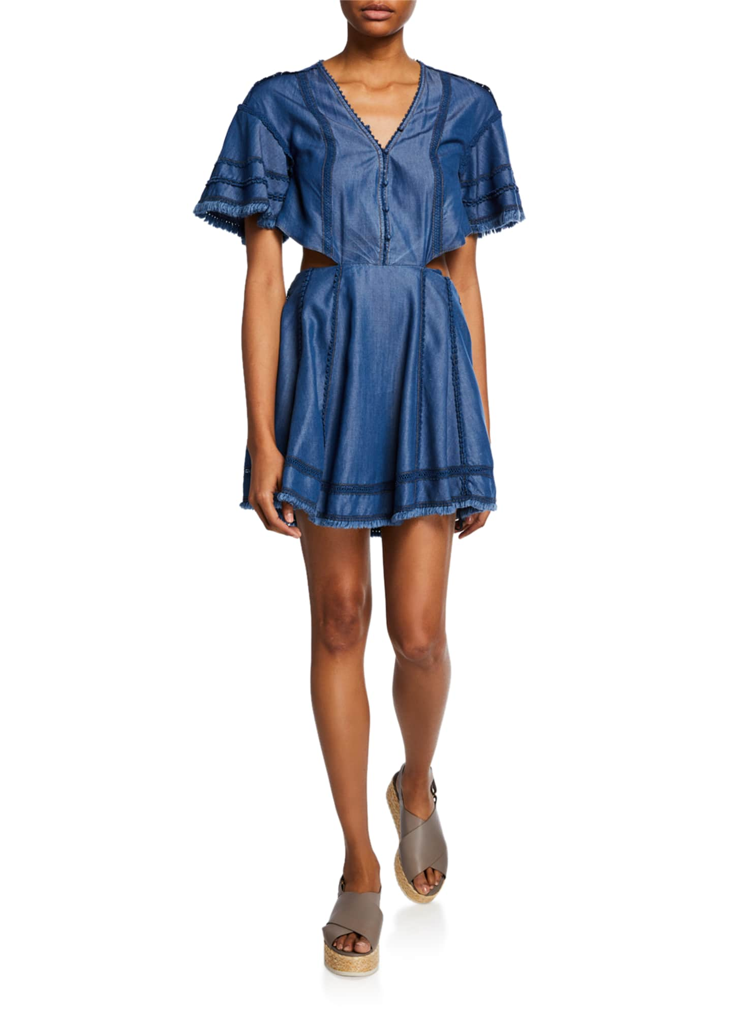Jonathan Simkhai Washed Denim Cutout Flare Dress