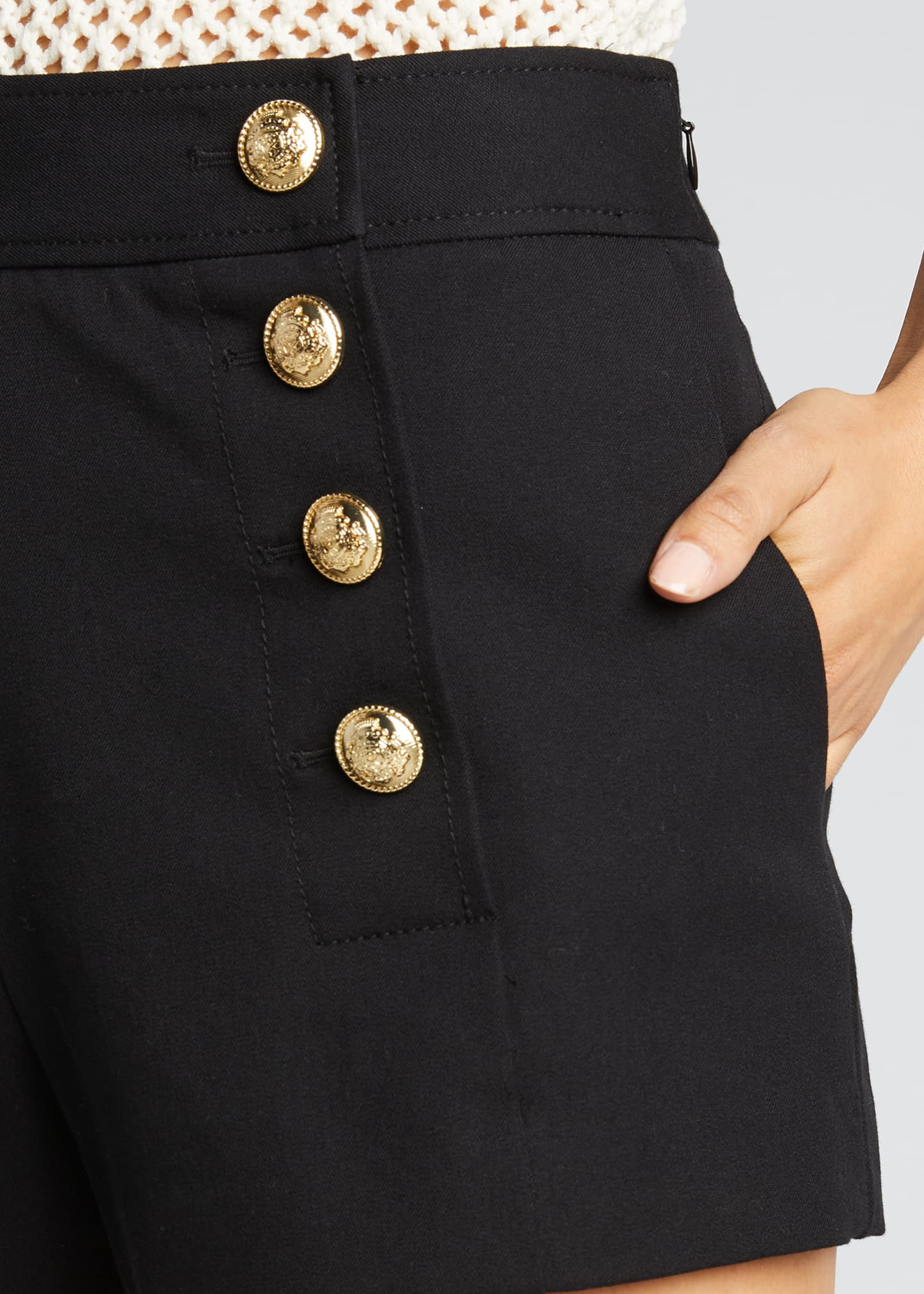 Image 4 of 5: Sailor Shorts with Button Details