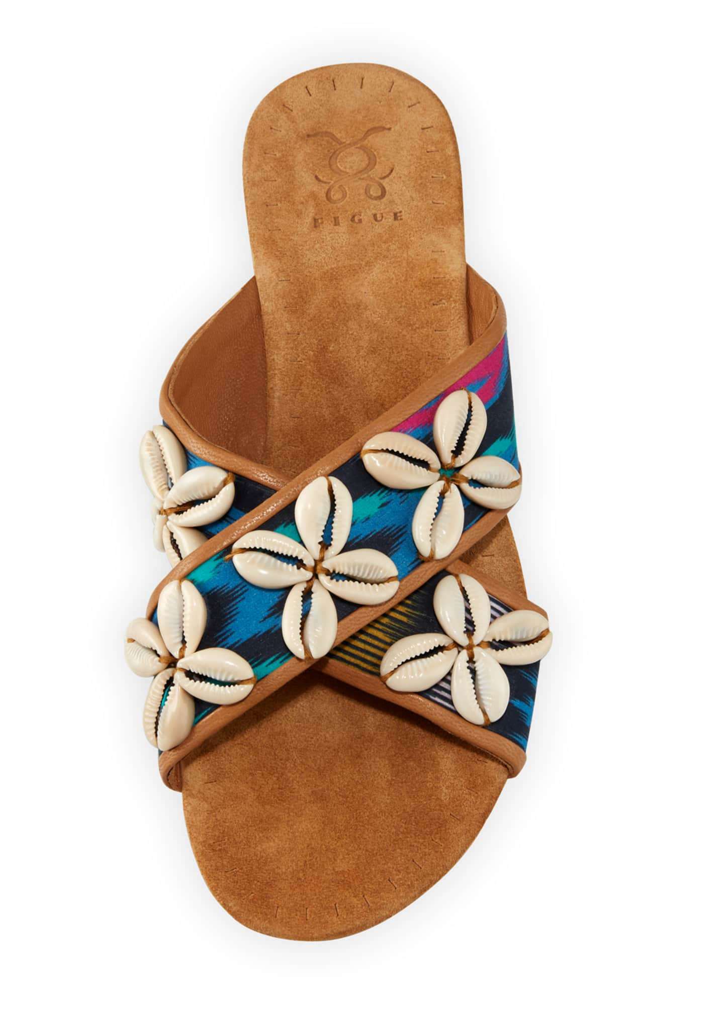 Image 3 of 3: Nilu Cowrie Shell Flat Sandals