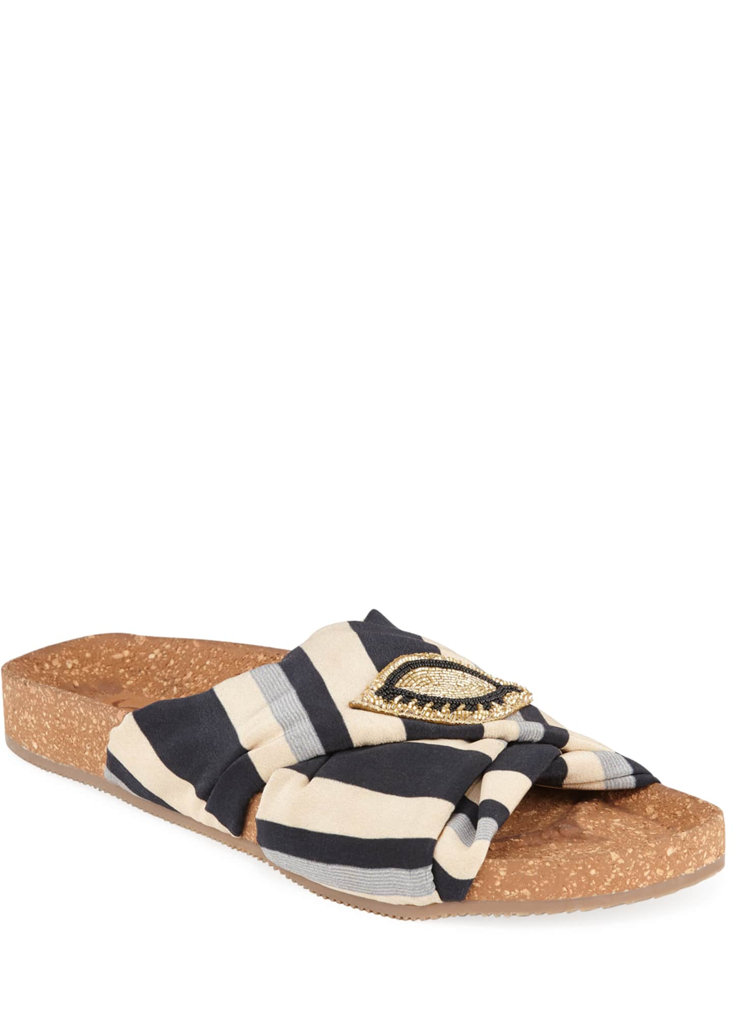 Figue Suki Beaded Silk Slide Sandals