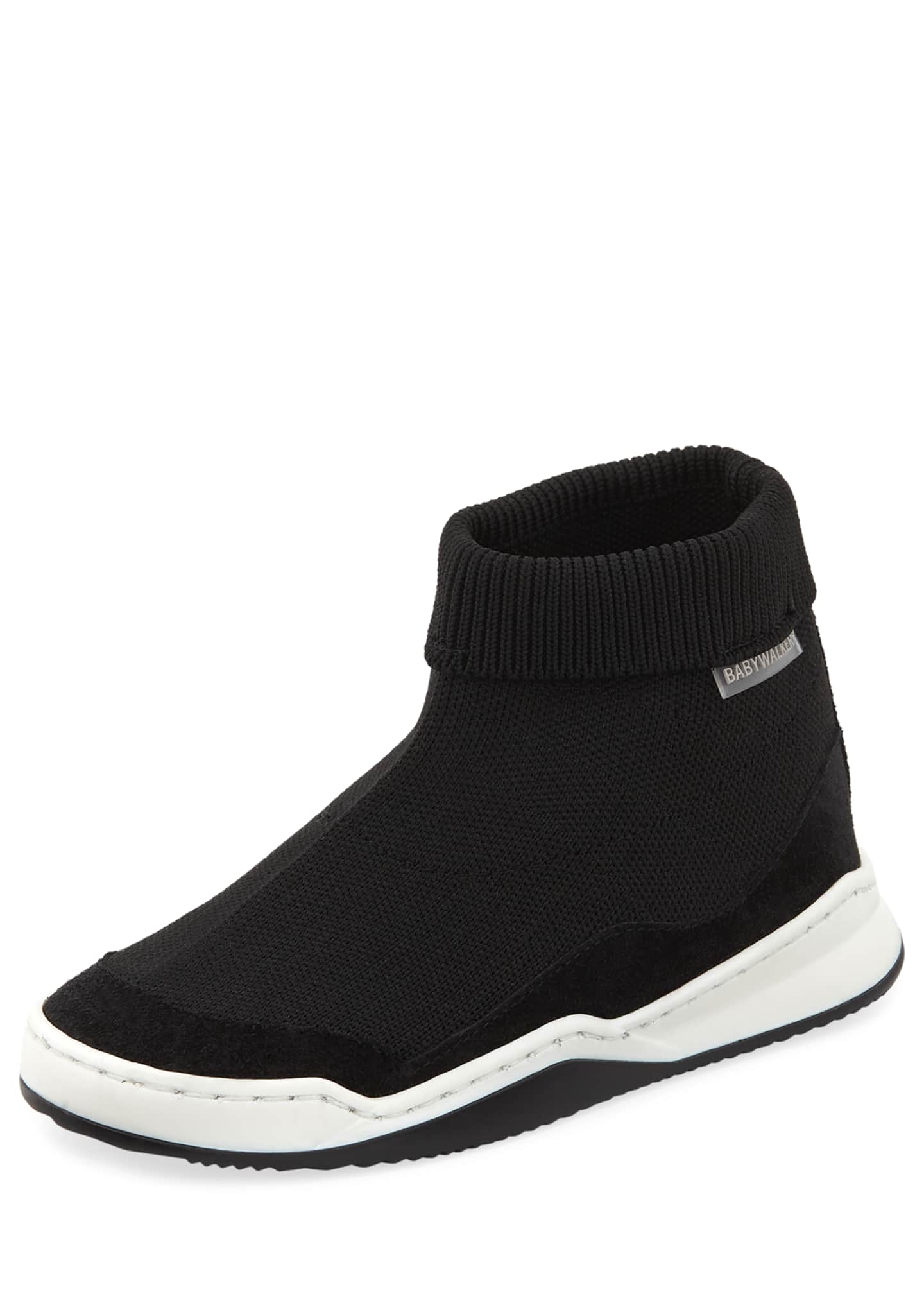 Babywalker Suede-Trim Sock Sneaker, Toddler