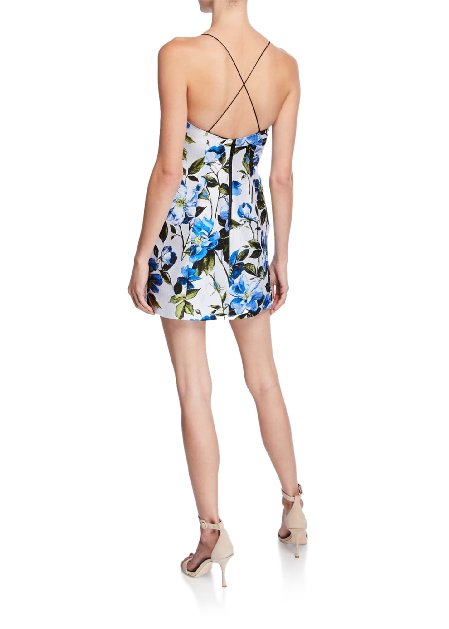 Image 2 of 2: Tayla Structured Floral-Print Lantern Mini Dress