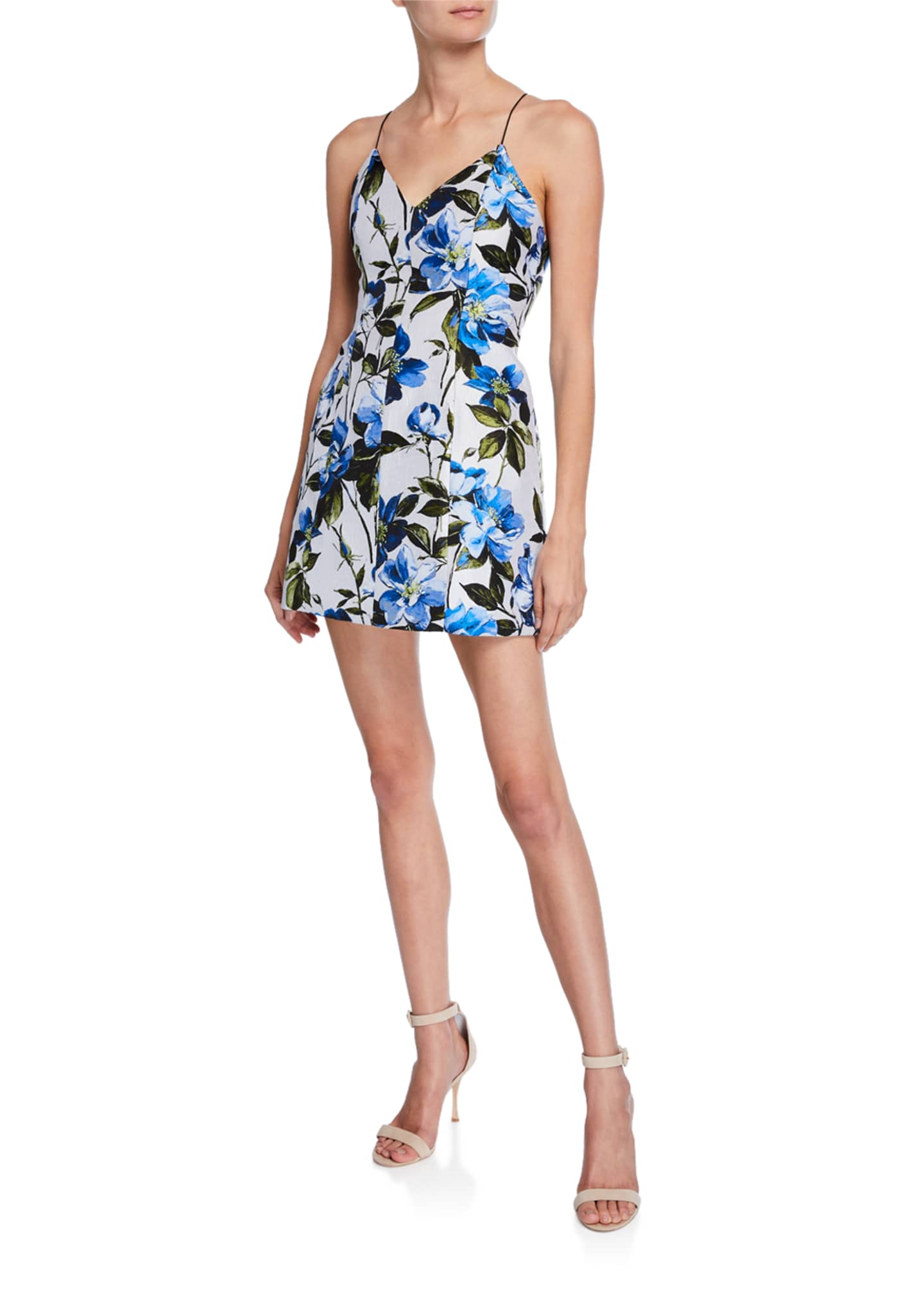 Image 1 of 2: Tayla Structured Floral-Print Lantern Mini Dress