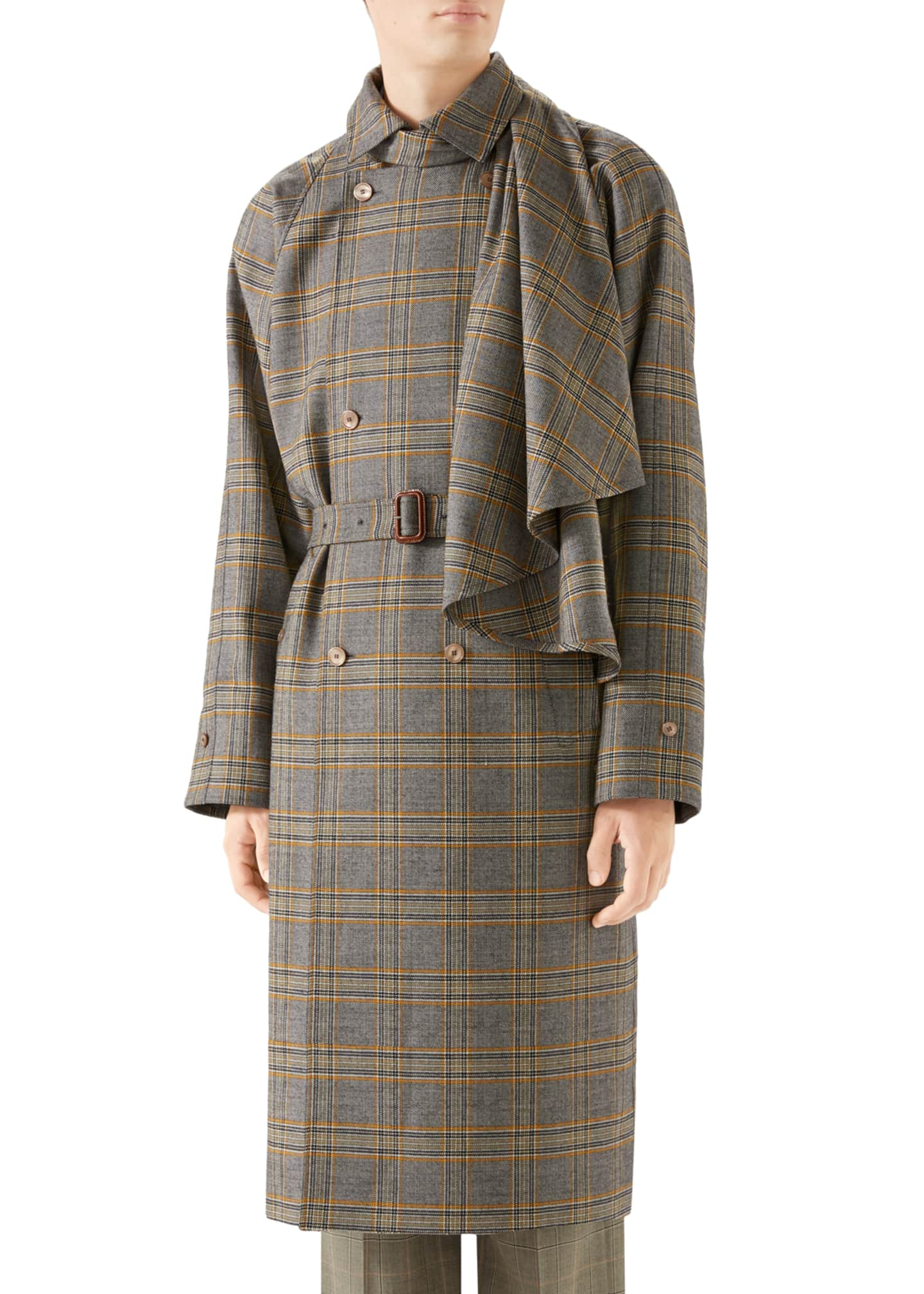 Gucci Men's Glen Plaid Overcoat w/ Removable Scarf