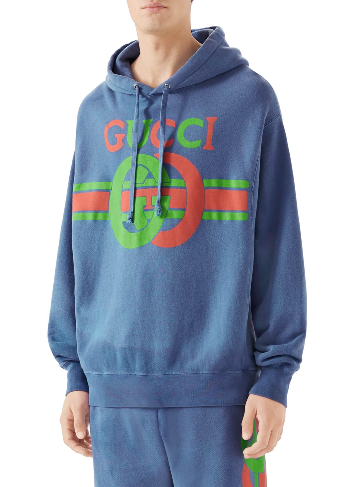Gucci Men's Striped GG Logo Washed Hoodie Sweatshirt