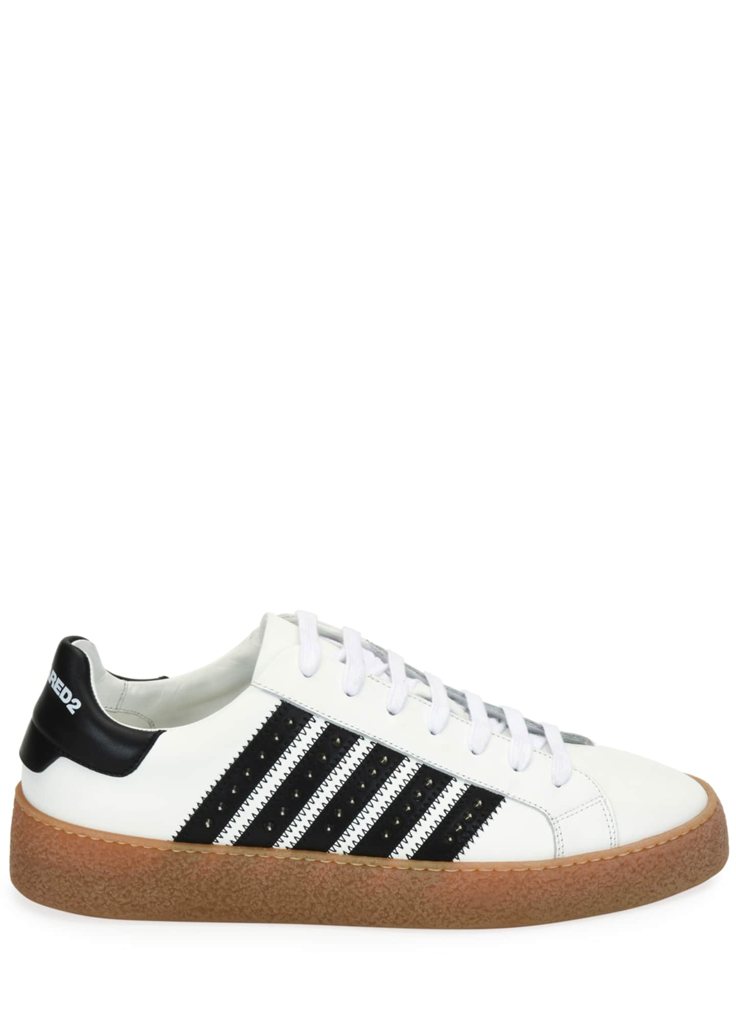 Image 2 of 3: Men's Studded Side-Stripe Leather low-Top Sneakers
