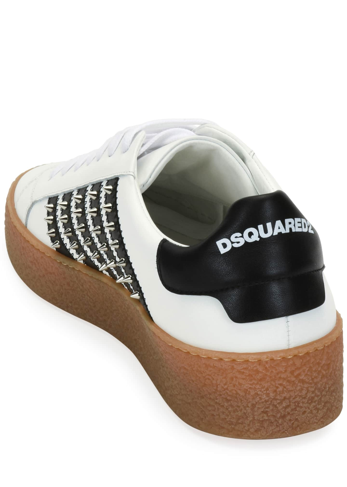 Image 3 of 3: Men's Studded Side-Stripe Leather low-Top Sneakers