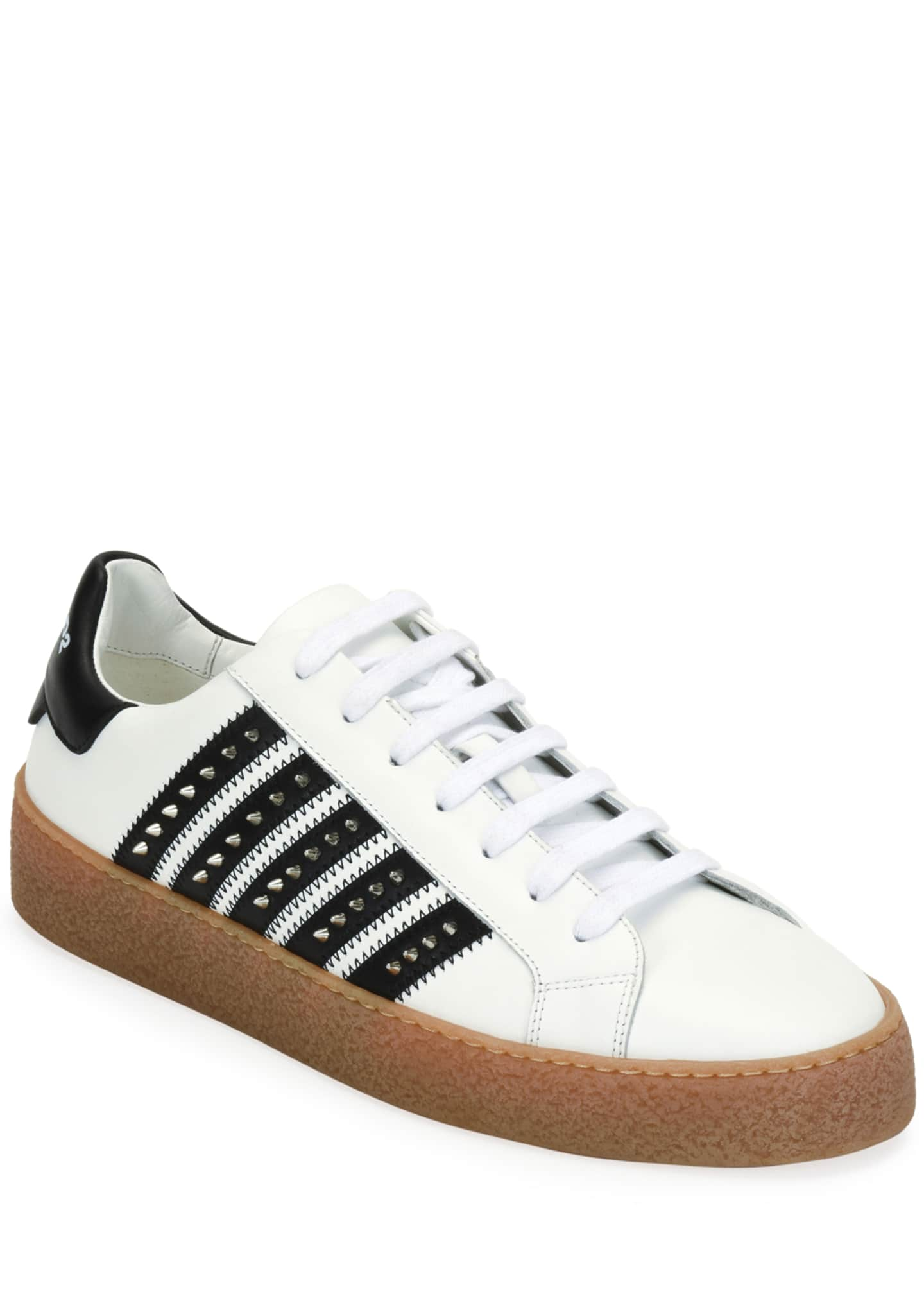 Image 1 of 3: Men's Studded Side-Stripe Leather low-Top Sneakers