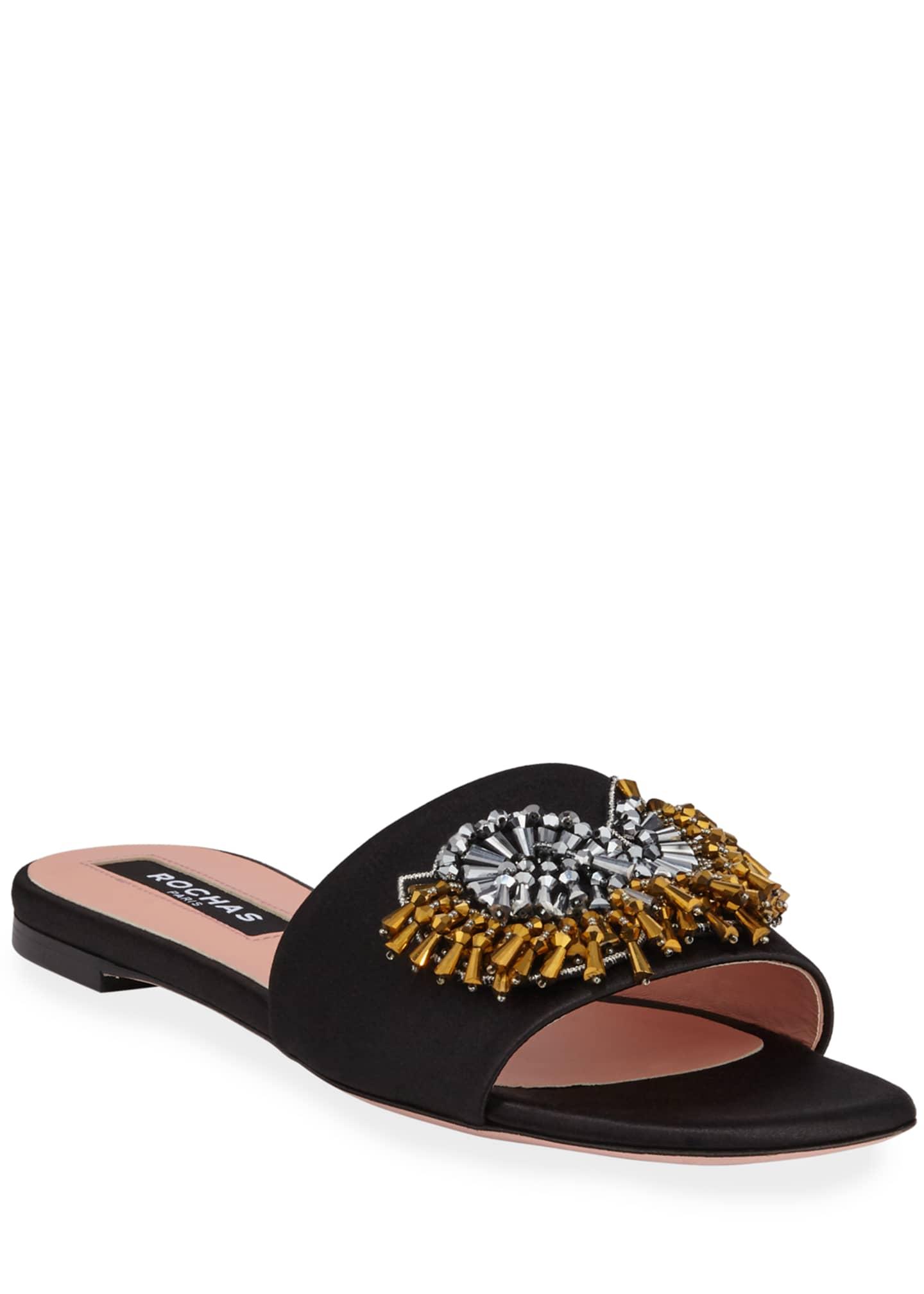 Rochas Broach Beaded Satin Slide Sandals