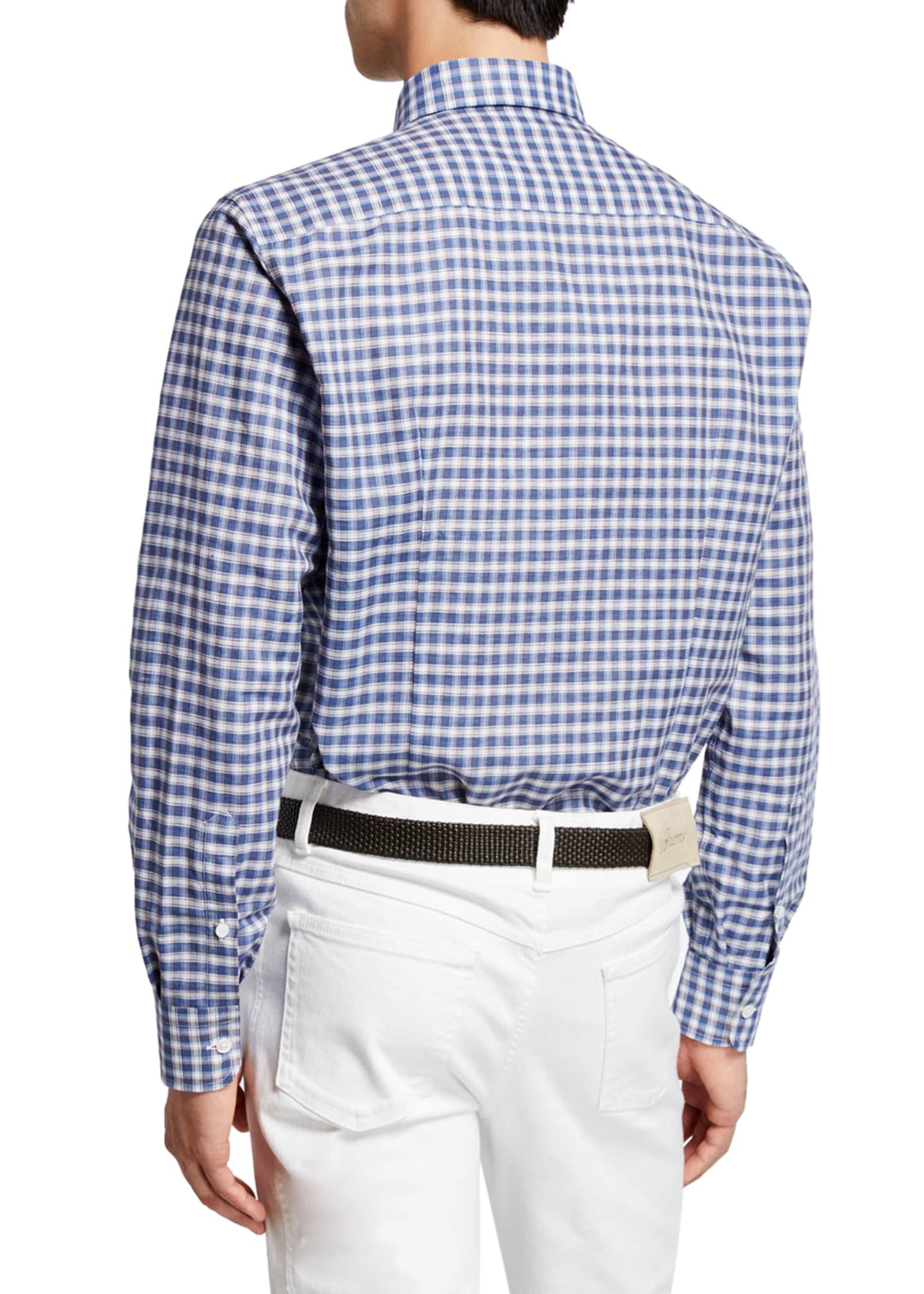 Image 2 of 2: Men's Cotton/Linen Check Sport Shirt