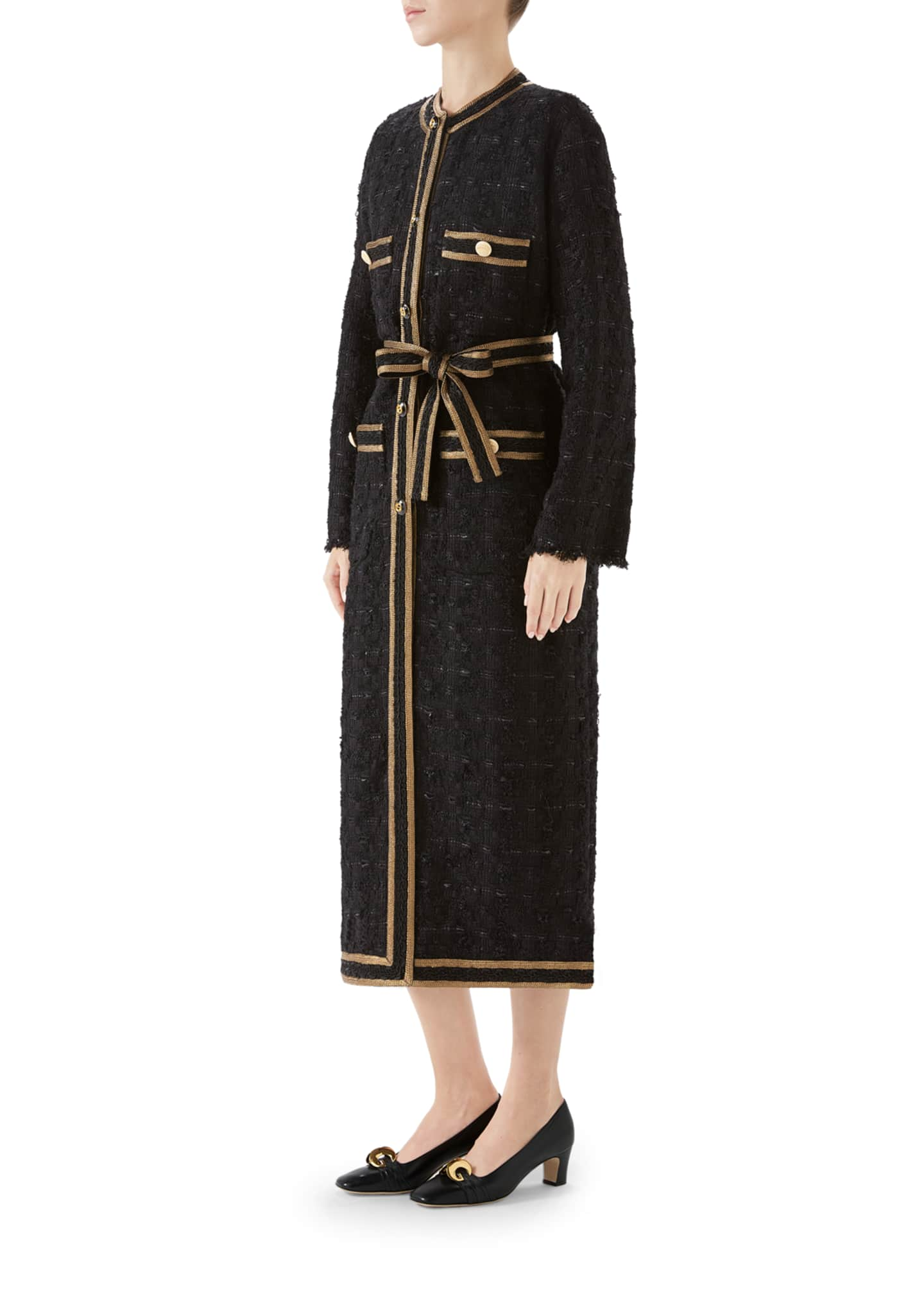 Image 2 of 4: Tweed Ribbon-Embroidered Coat