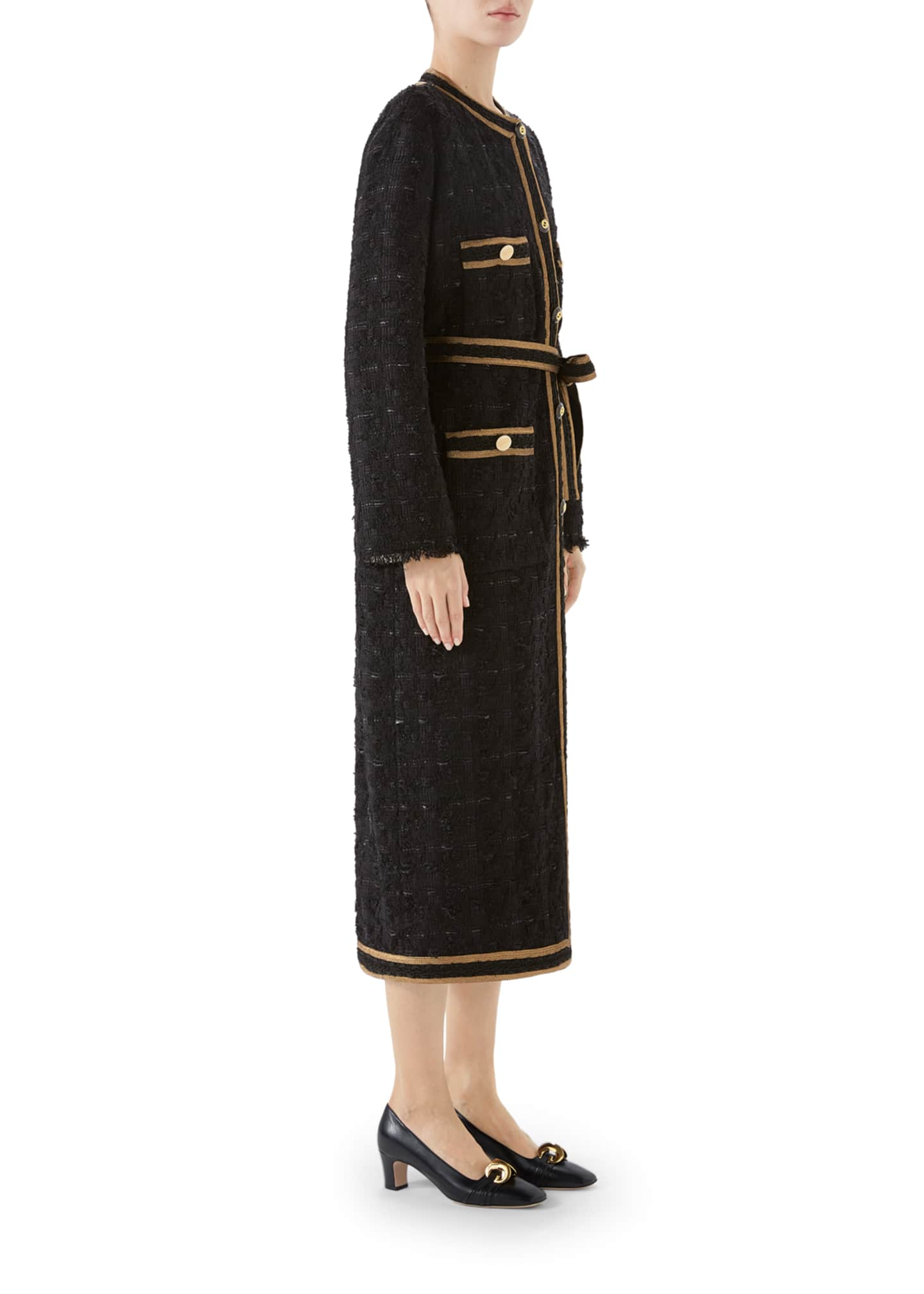 Image 4 of 4: Tweed Ribbon-Embroidered Coat
