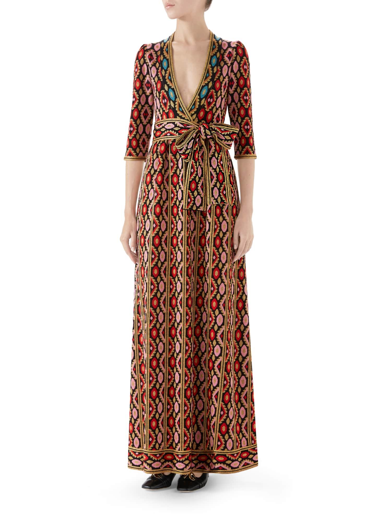 Gucci Jardin en Hiver Metallic Jacquard Maxi Dress