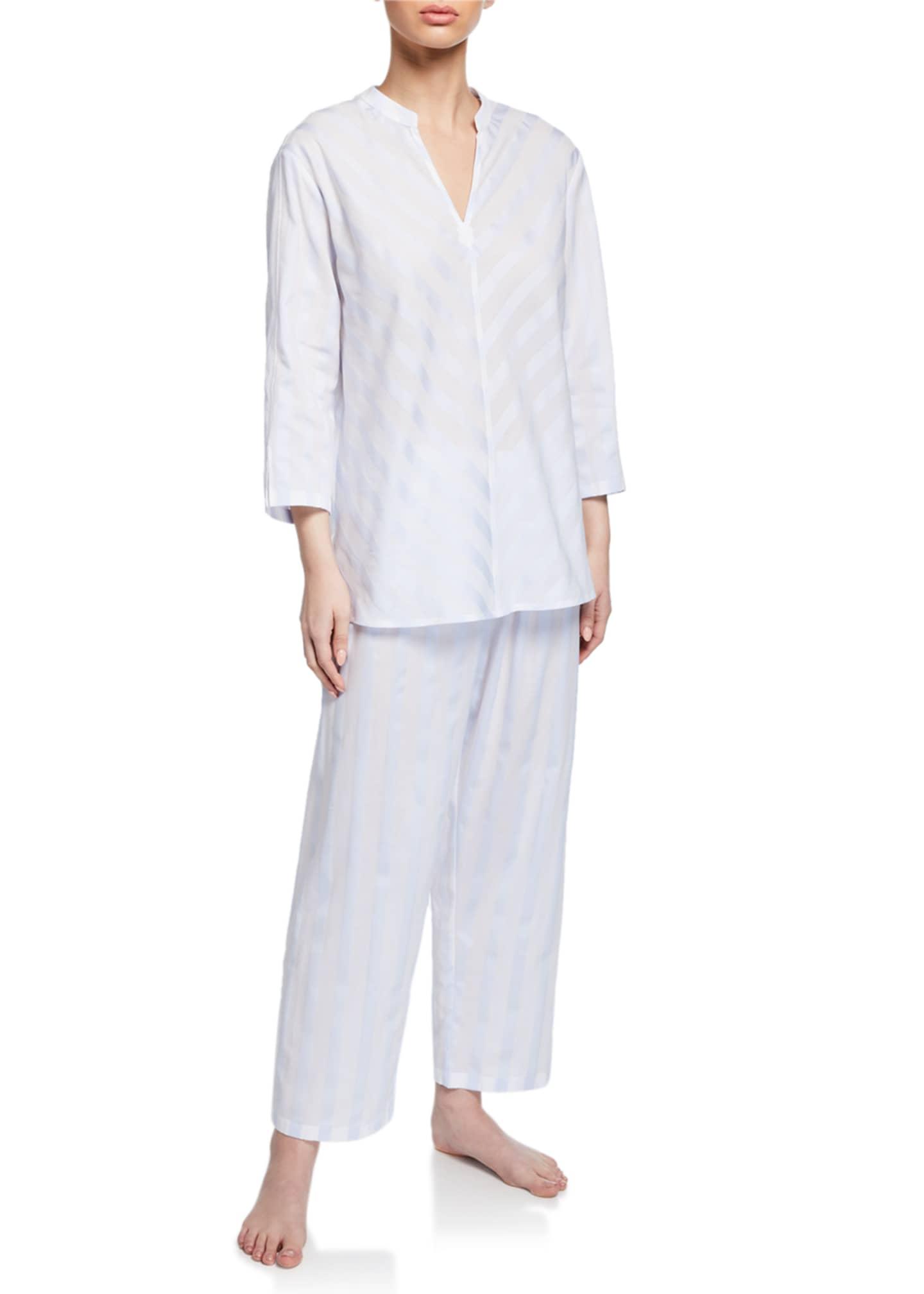 Daliah Cropped Celestine Satin Striped Two-Piece Pajama Set
