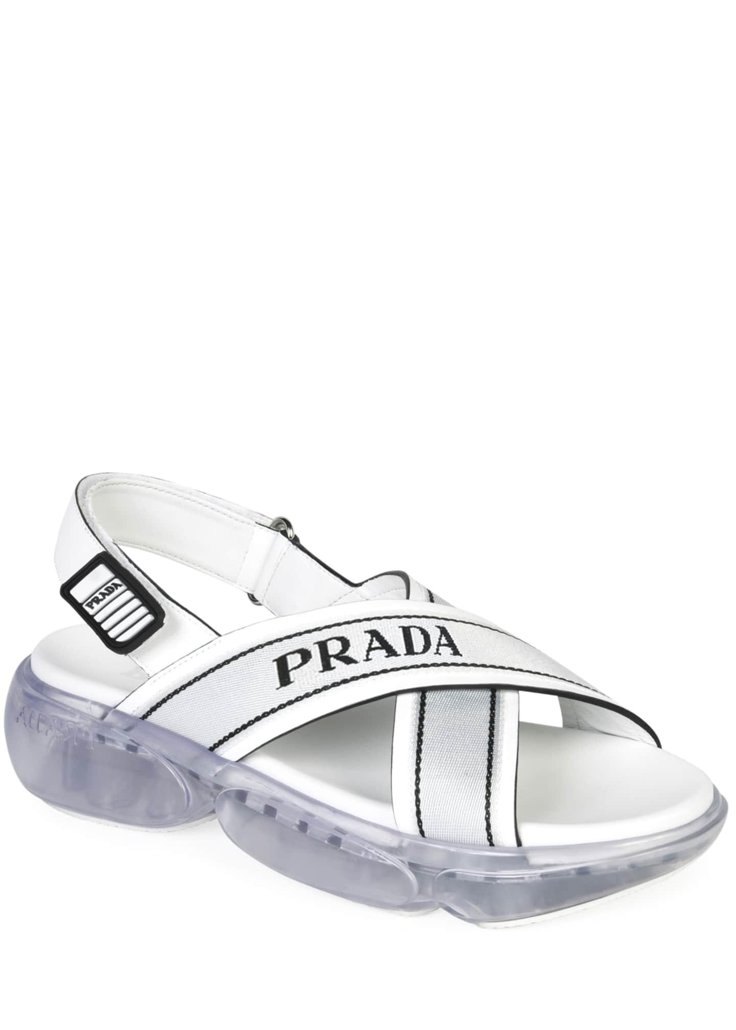Prada Logo Sport Chunky Sandals