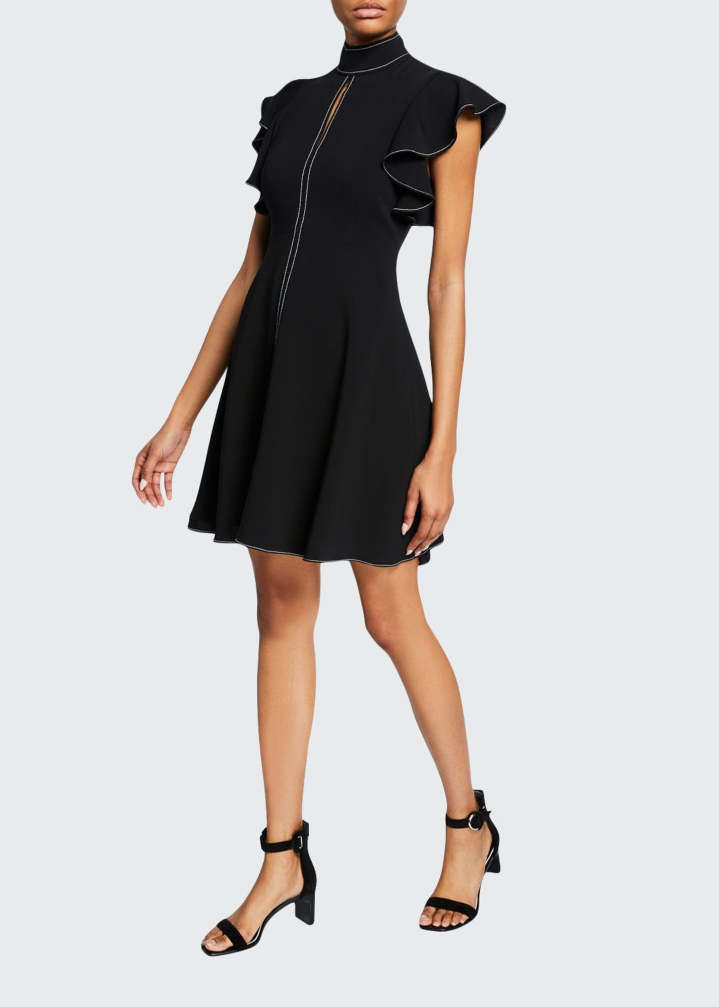 cinq a sept Reiko Turtleneck Ruffle-Sleeve Topstitch Dress