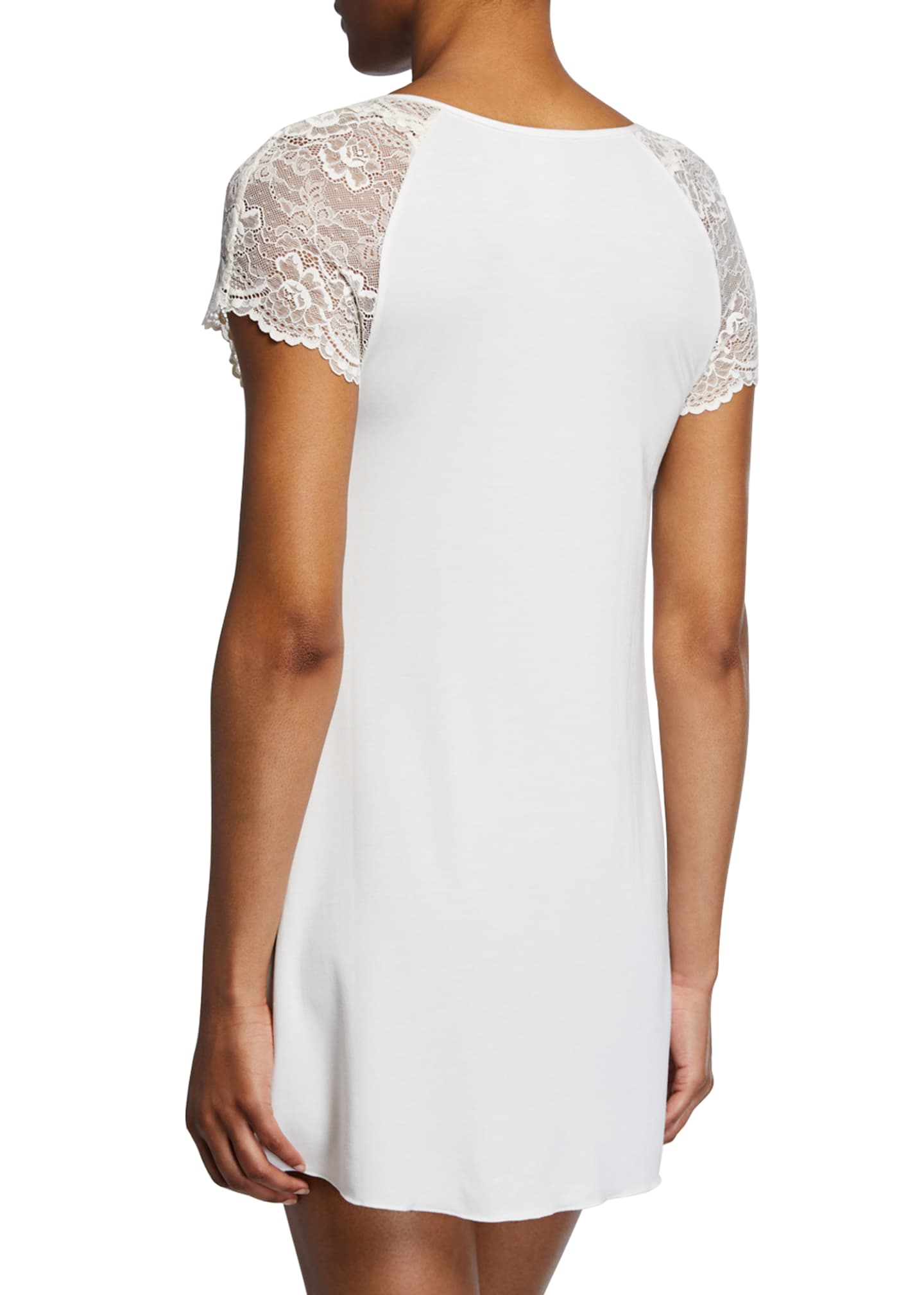 Image 2 of 2: Lace Cap-Sleeve Short Nightgown