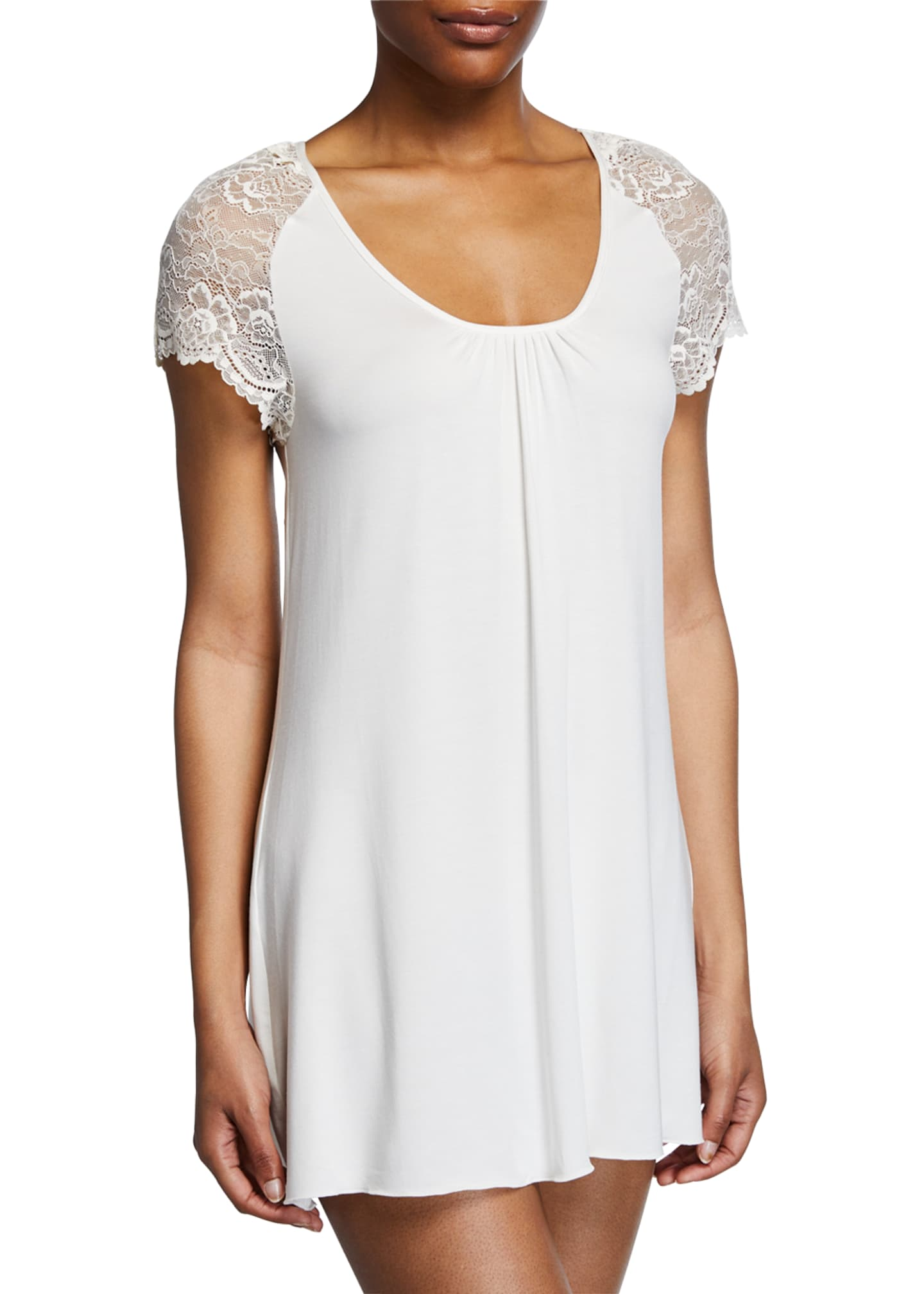 Image 1 of 2: Lace Cap-Sleeve Short Nightgown