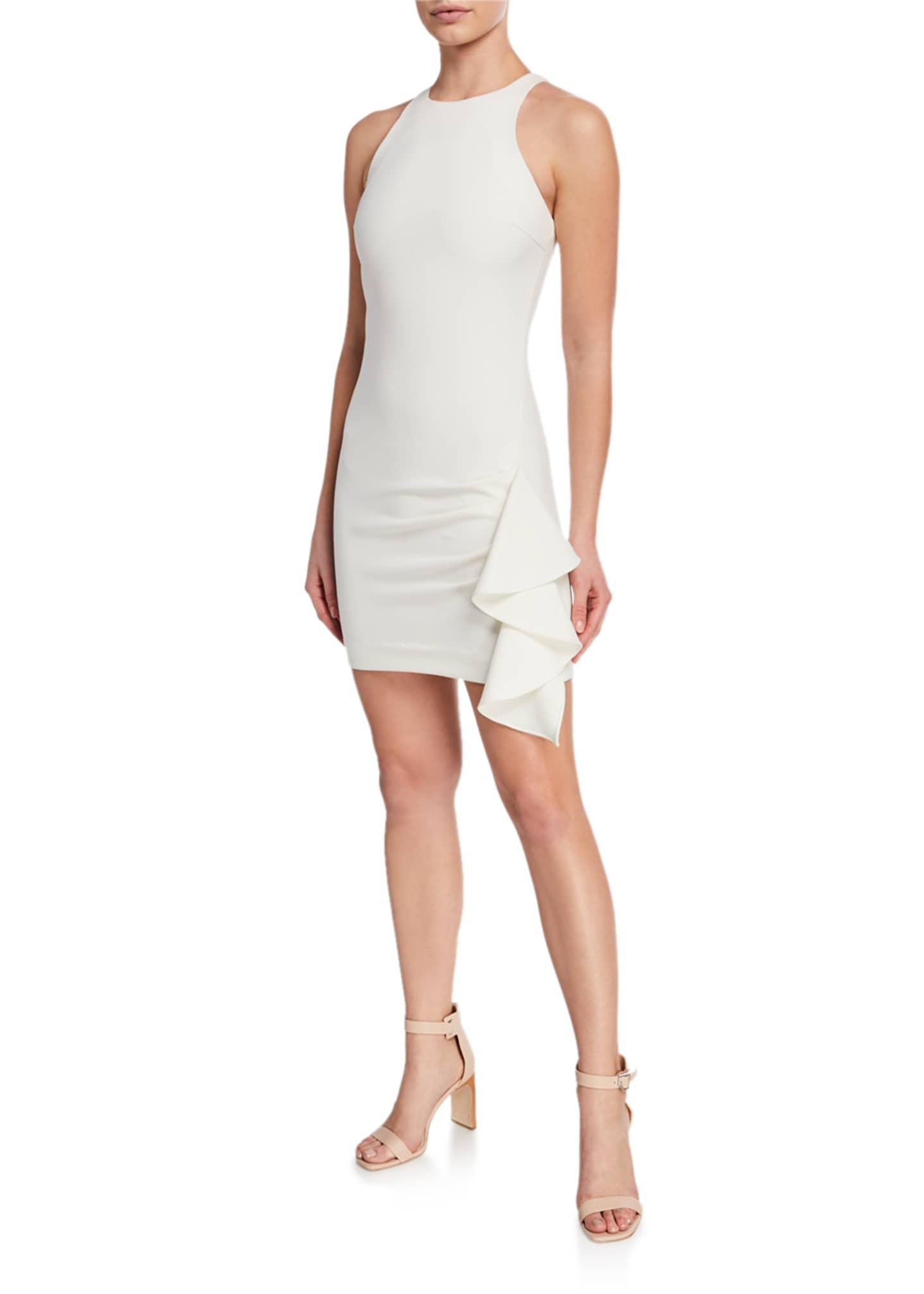 cinq a sept Makayla Halter-Neck Side-Ruffle Mini Dress