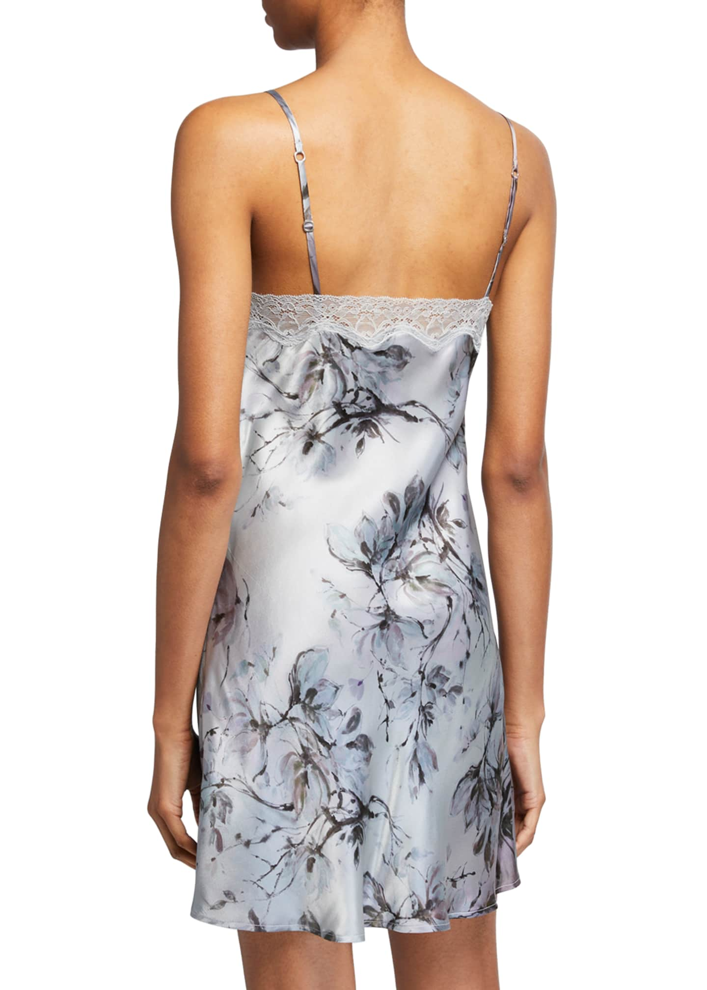 Image 2 of 2: Floral-Print Classic Lace-Trim Chemise