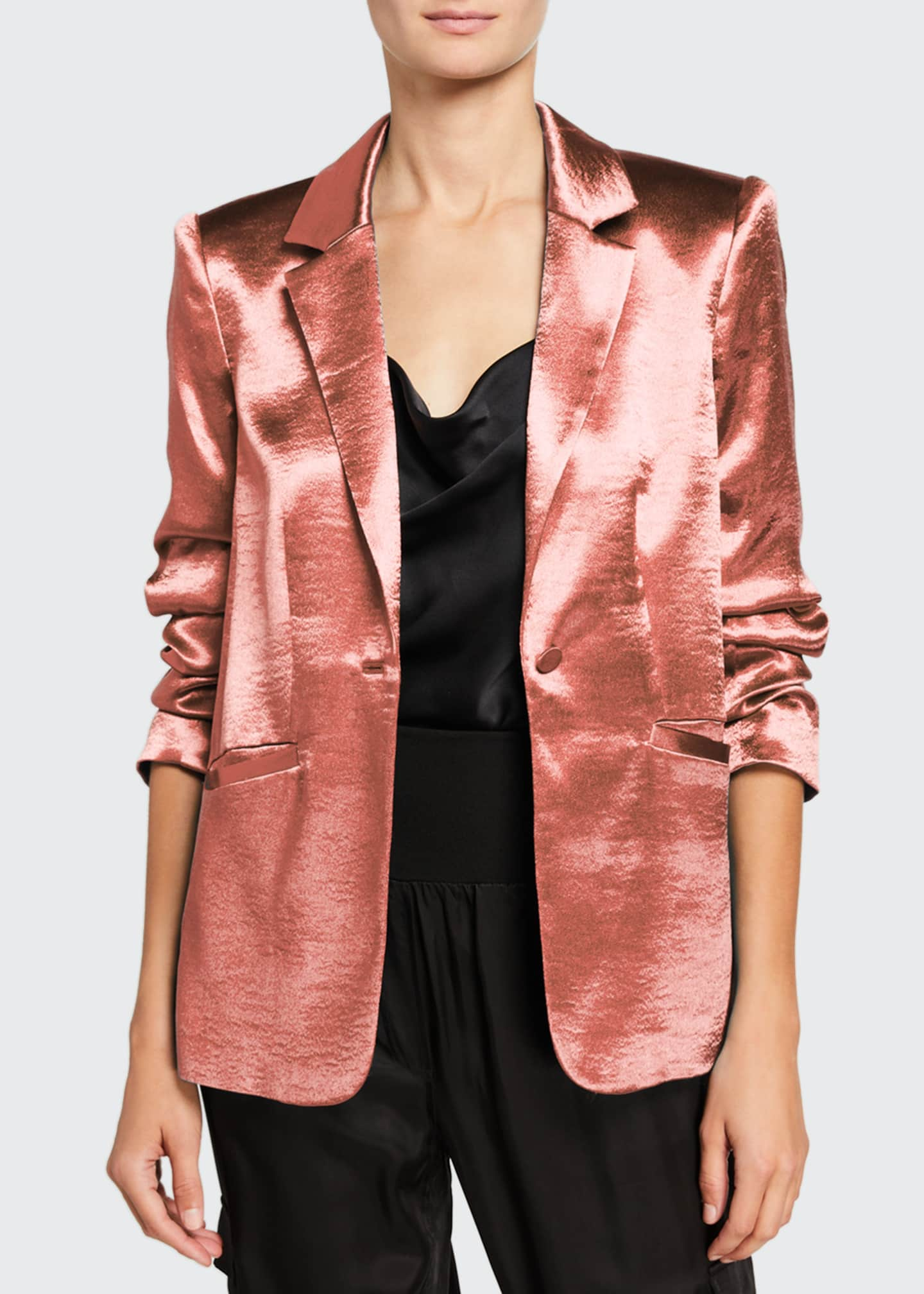 cinq a sept Kylie Ruched-Sleeve Satin Blazer