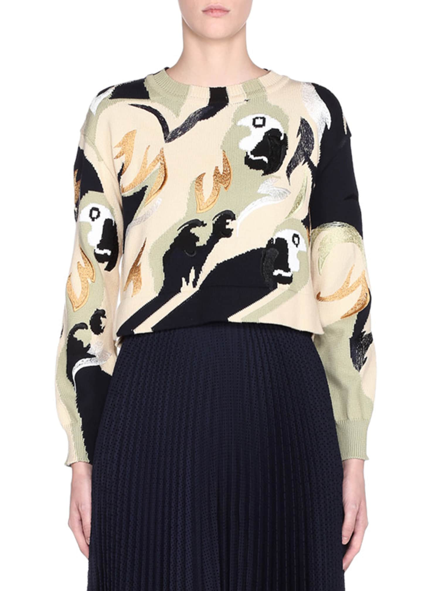 Fendi Bird Print Long-Sleeve Crewneck Sweater