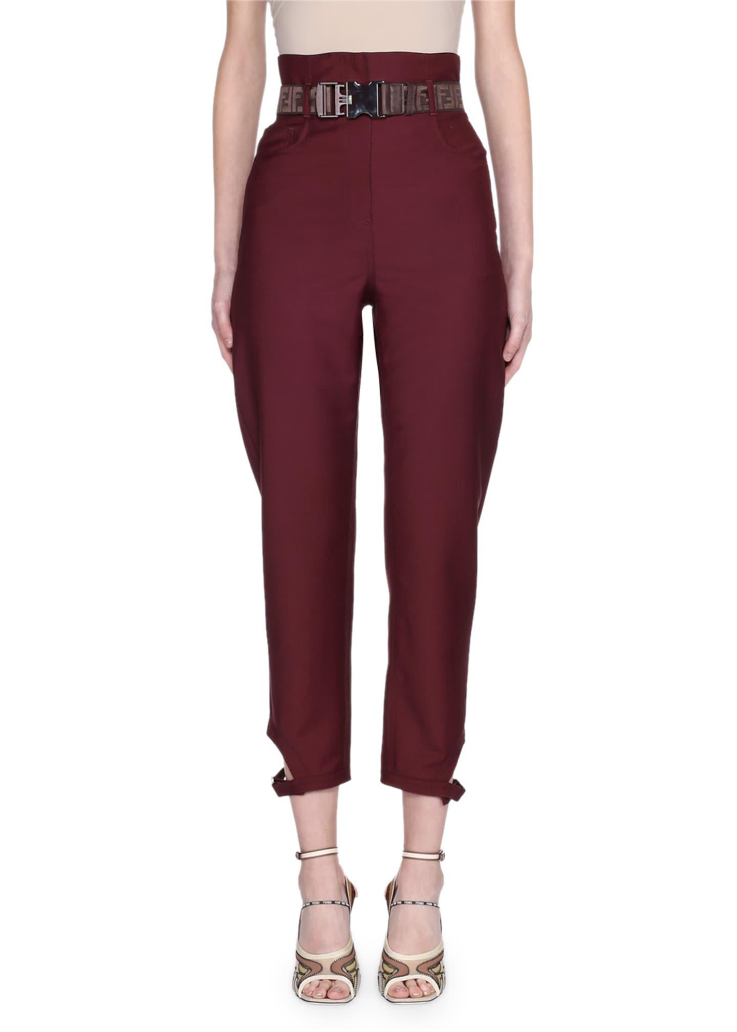Fendi Belted High-Rise Wool Pants