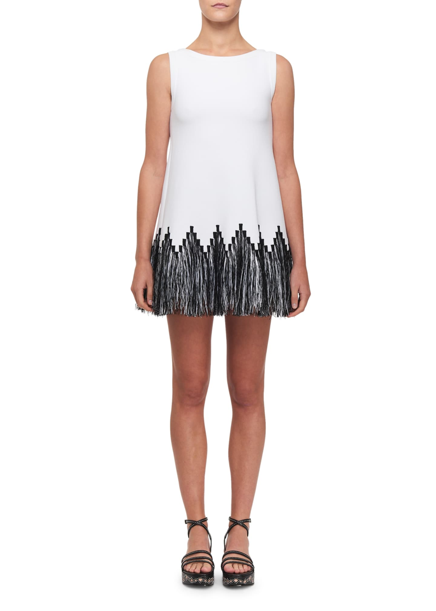 ALAIA Raffia-Fringe Tunic Dress