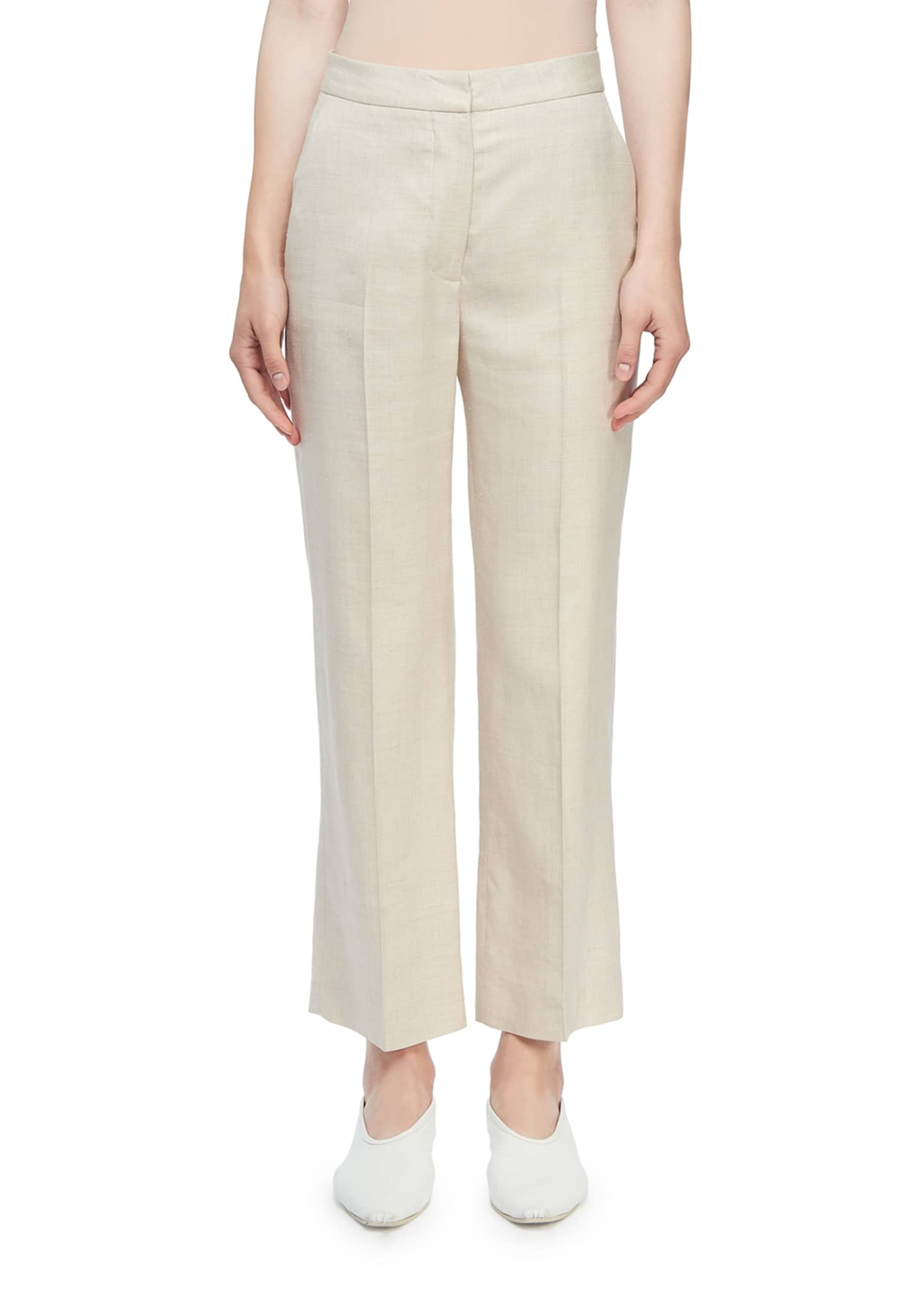 Stella McCartney High-Rise Linen Cropped Trousers
