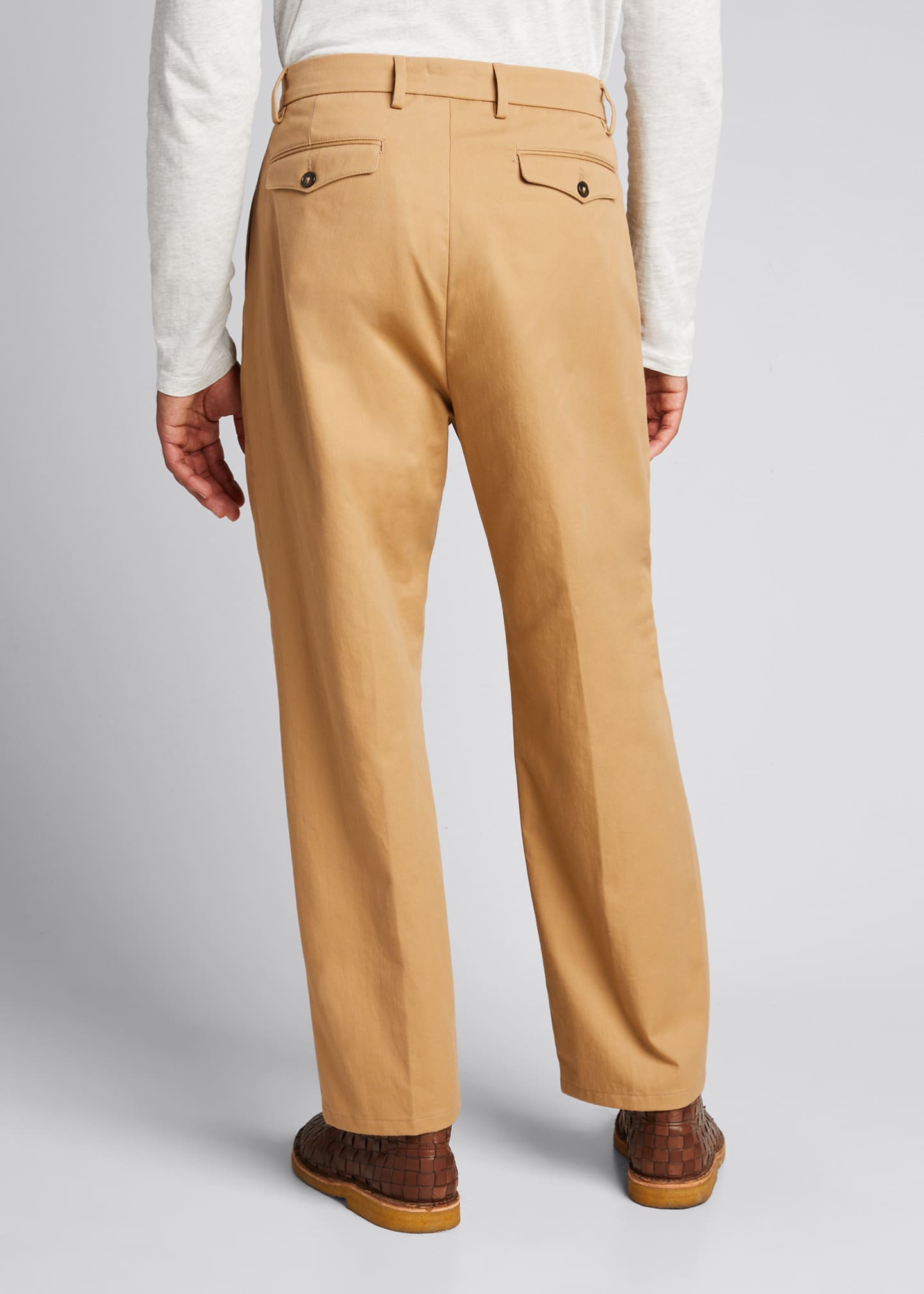 Image 2 of 3: Men's Pleated Straight-Leg Crop Trousers