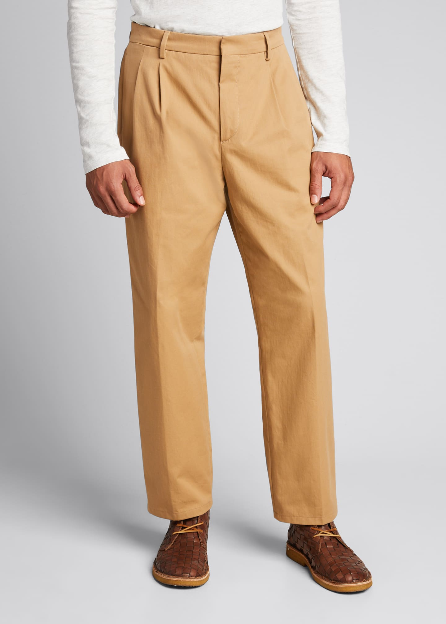 Image 3 of 3: Men's Pleated Straight-Leg Crop Trousers