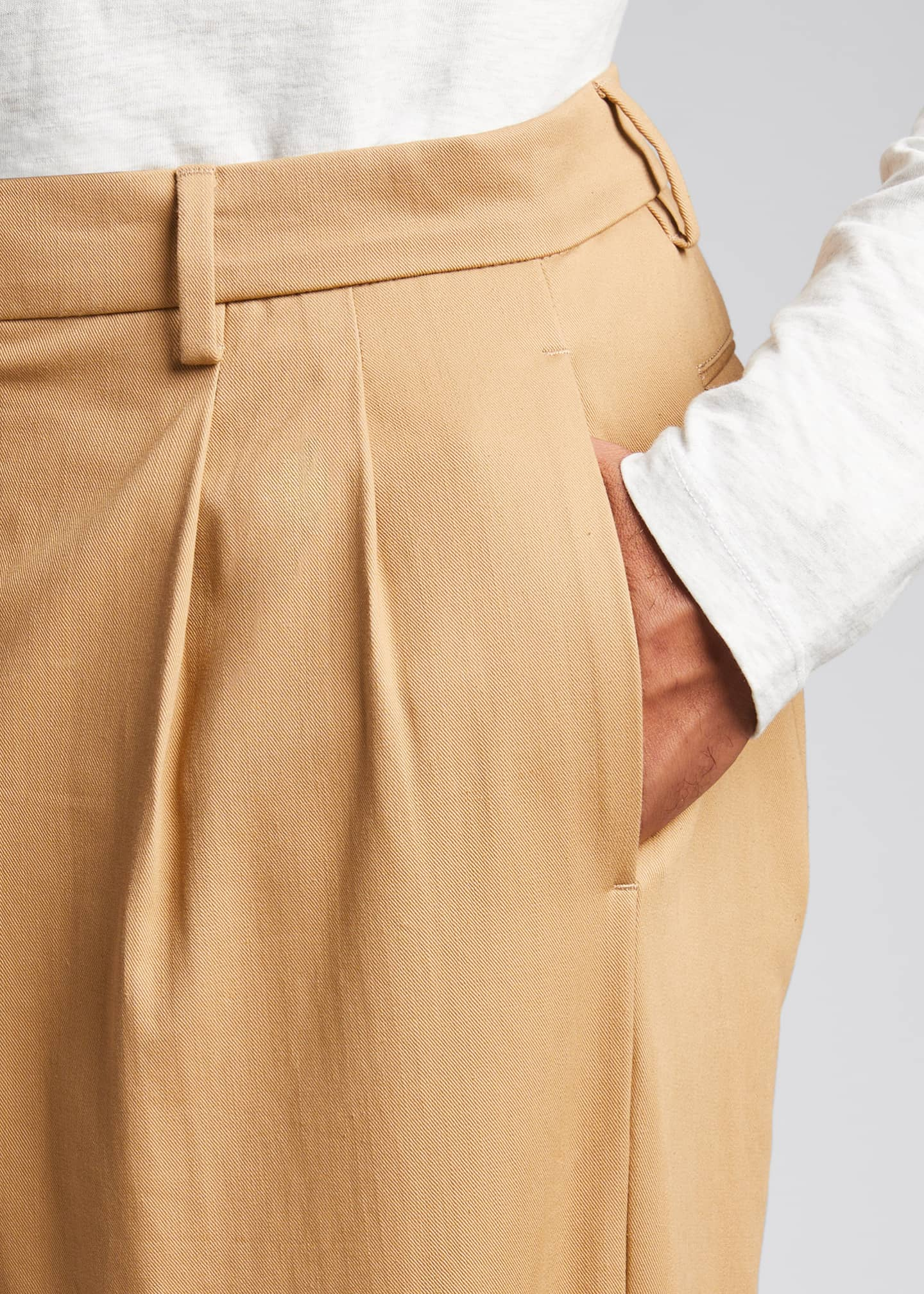 Image 4 of 5: Men's Pleated Straight-Leg Crop Trousers