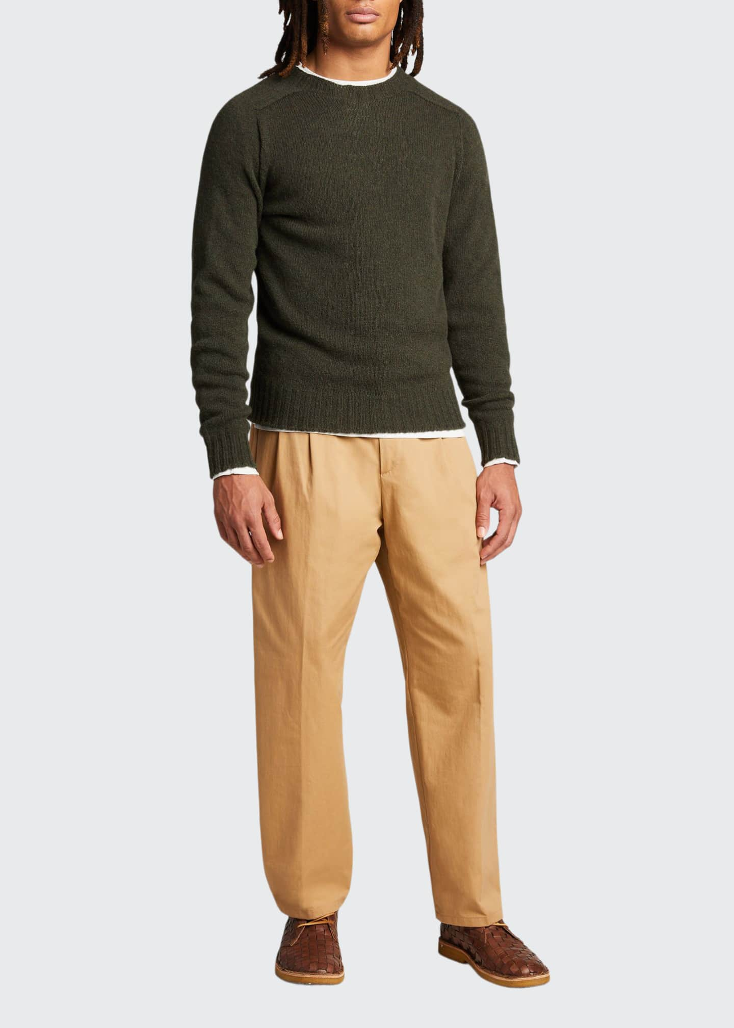 Image 1 of 5: Men's Pleated Straight-Leg Crop Trousers