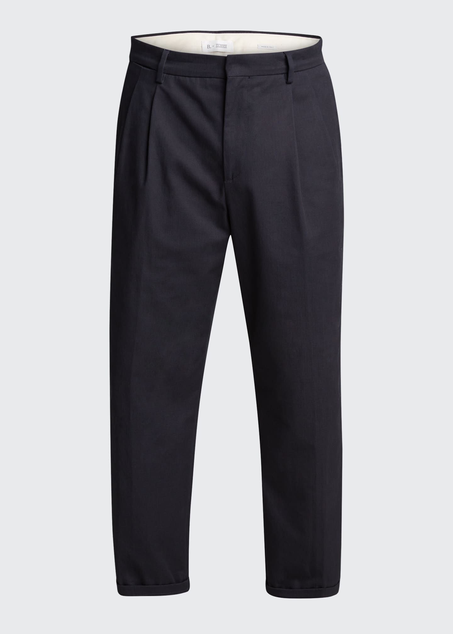 Image 5 of 5: Men's Pleated Straight-Leg Crop Trousers