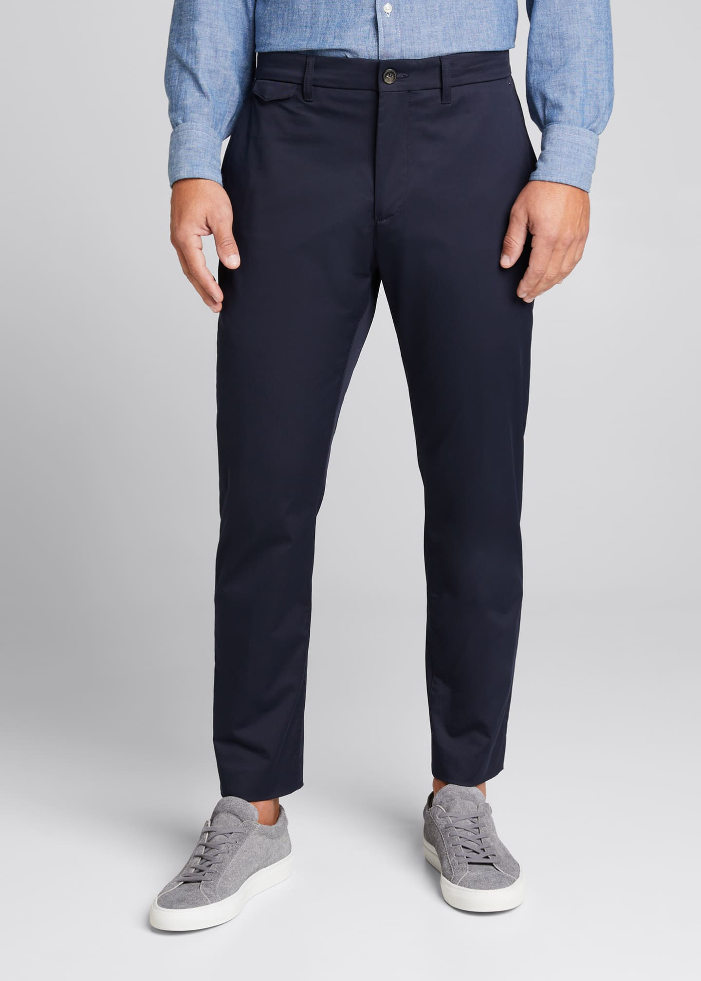 Image 3 of 5: Men's Flat-Front Cropped Trousers